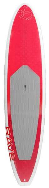 "Wake A perfect combination stand up paddleboard for lighter weight paddlers looking for a good workout or short to moderate excursions.The 10'6"" LS106 Lake Cruiser SUP is designed for experienced to novice recreational ""flat water paddlers"" looking for stability and ease of paddling on lakes, rivers and bays. The unique hard rail design on a traditional shape provides greater stability and the board rides higher in the water increasing glide and acceleration.Key Features of the Rave Lake Cruiser SUP Paddleboard 10'6"": 10'6"" x 30"" x 4.25"" 25.4 lbs. Epoxy resin board with hard rails EVA deck pad Leg leash attachment ring Attachment rings for elastic cargo straps 10"" removable single bottom fin Self venting plugs Recessed handle pocket Bottom stringer - $999.95"