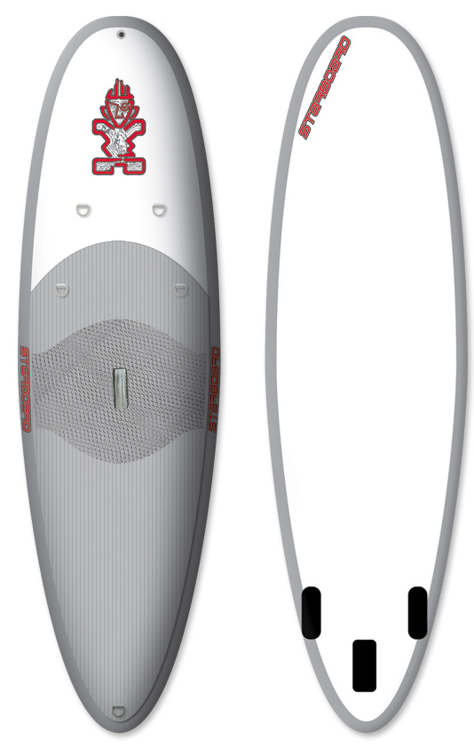 "Surf ""High quality inflatable boards are great for: Travelling, Storage, Boats and Whitewater."" What is special about Starboard's construction: Full deck and nose EVA cover for riding tail first. Full EVA all the way to the edge for maximum traction in whitewater or waves. Properly foiled removable injection molded fins for wave riding, no tools. Great quality carry handle. Tie down points forward for carrying travel bag. Single action pump allows body weight to be used for efficient inflation. Highest quality glued components. Surf rocker and outline mimic a rigid construction paddle board. Travel bag and full repair kit.Key Features of the Starboard Astro Whopper SUP 10' x 35"": Super-strong 4"" reinforced PVC drop-stitch material (15 psi max pressure). Full deck EVA. ""No tools"" removable center fin box system with 63/4"" Drake center fin. Fixed, flexible side fins. Feature four D-rings on the nose for gear storage. Carry handle. Leash attachment point. Large backpack with extra room for gear storage. High pressure single action pump (up to 15 psi). Repair kit. Length (cm): 304.8 Width (cm): 88.9 Thickness (cm): 10.2 Tail Width (cm): 48.0 Volume (L): 200 Center Fin: Drake 6 3/4 Removable Side Fins: Fixed Soft fins - $959.95"
