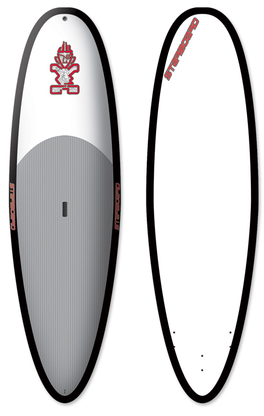 "Kayak and Canoe ""The mother of compact paddle board technology."" Extremely stable at 34 inches wide, the Whopper provides stability to paddle through the most turbulent white water and other difficult conditions. Maneuvering the board is simple as it turns very easily on the spot and its stability makes it a breeze to paddle into waves. Almost impossible to nosedive, it catches even the smallest waves with ease, making SUP even more fun. The Whopper continues to surprise with amazingly good wave riding characteristics for it's width. To always stay at the cutting edge of performance, Starboard operates a fast paced development program where only the very best shapes are continued through several seasons, the Whopper is one of them. ""Mono concave nose section to flat middle and tail V""Key Features of the Starboard Whopper Slick SUP 10' x 34"": Safe, strong, and economical construction. Full deck pad with 4mm grooved traction EVA foam on rear two-thirds of the board. Soft and safe removable PU fins. Impact-resistant high density thermoformed EVA foam rails. Soft sponge tail bumper. Length (cm): 304.8 Width (cm): 86.4 Thickness (cm): 10.4 Tail Width (cm): 46.7 Volume (L): 168 Center Fin: Hexcel 170 Side Fins: M4.7"" - $799.95"