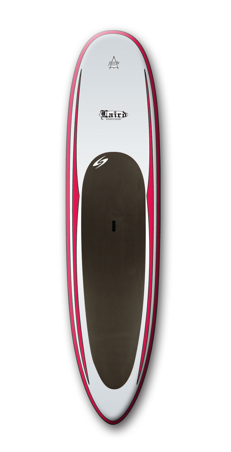 "Wake Designed specifically for standup paddling, the Laird standup paddle board has a wide and thick template with a flat bottom for stability.Low rocker for speed and pulled in tail for maneuverability.Key Features of the Surftech Laird SUP Paddleboard 12'1"": Length: 12'1"" Width: 32"" Thickness: 4.25"" Volume: 206L - $1,073.95"
