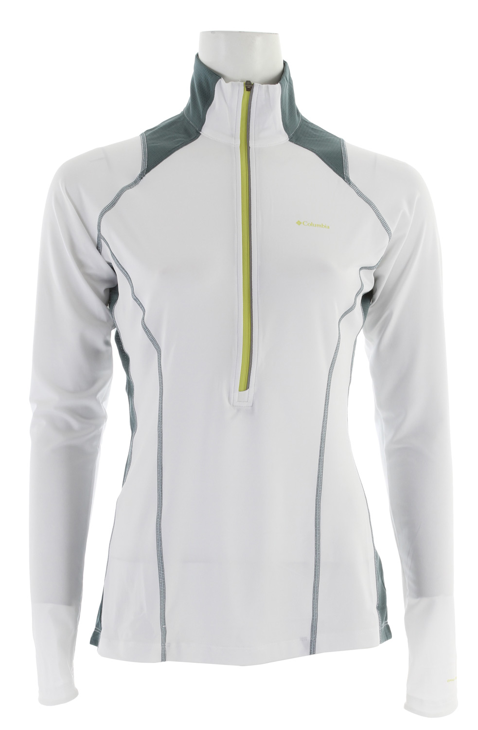 Key Features of the Columbia Solar Polar 1/2 Zip Fleece: 91% polyester/9% elastane Freezer Ice jersey, 100% polyester pointelle mesh, 86% polyester/14% elastane Flex Stretch woven Omni-Freeze ICE™ advanced cooling Omni-Shade™ UPF 50 sun protection Omni-Wick™ Vented Thumb holes Reflective detail Antimicrobial Laser cut details - $69.95
