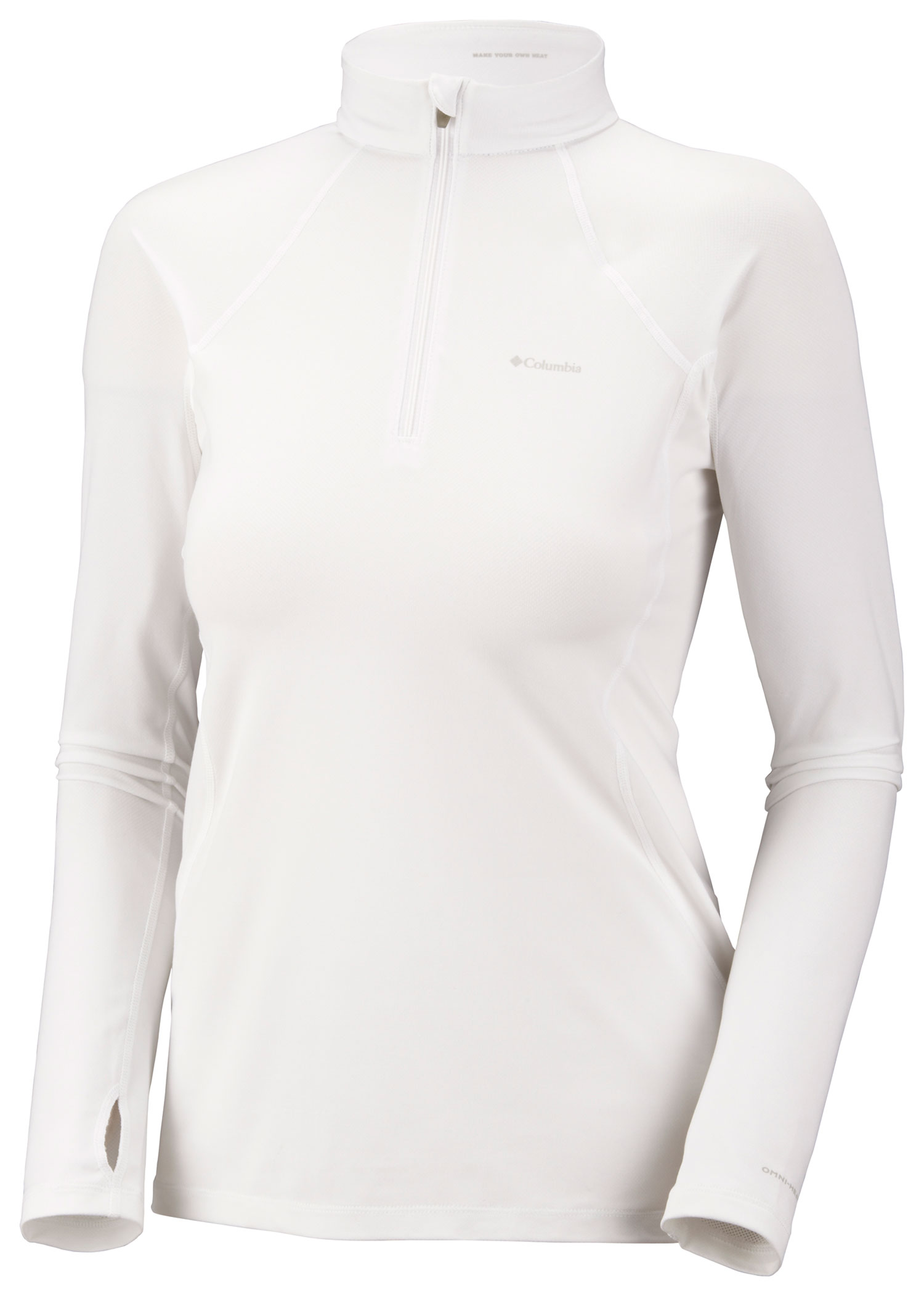 Key Features of the Columbia Baselayer L/S 1/2 Zip Top: FABRIC 85% polyester/15% elastane sweet rev. FIT Performance Omni-Heat thermal re?ective Omni-Wick Breathable Antimicrobial 4-way comfort stretch Ergonomic seaming Thumb holes - $47.95