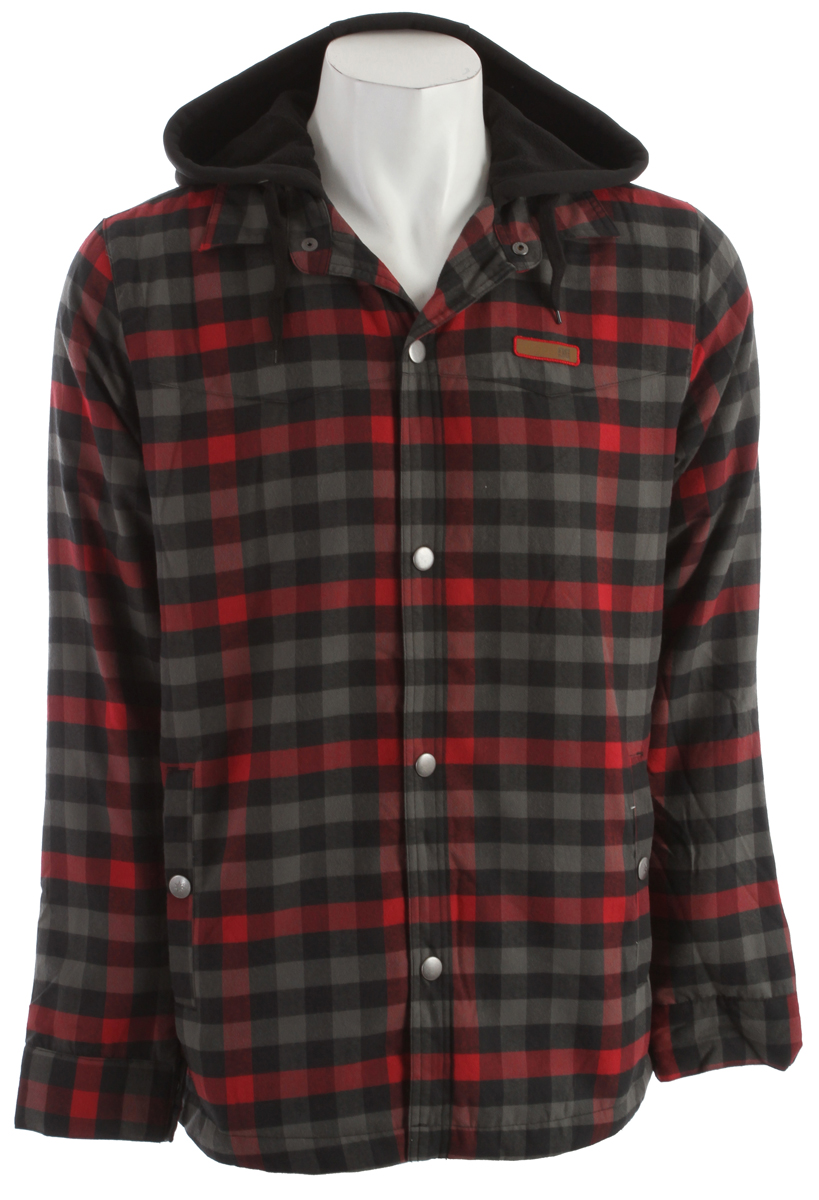 Skateboard Water resistant flannel shirt with polyester hood, quilted taffeta lining, 40g poly insulation and media pocket.* Water Resistant * Polyester * Regular Fit * Polo Neck, Buttoned Neck * Button Up Closure - $57.95