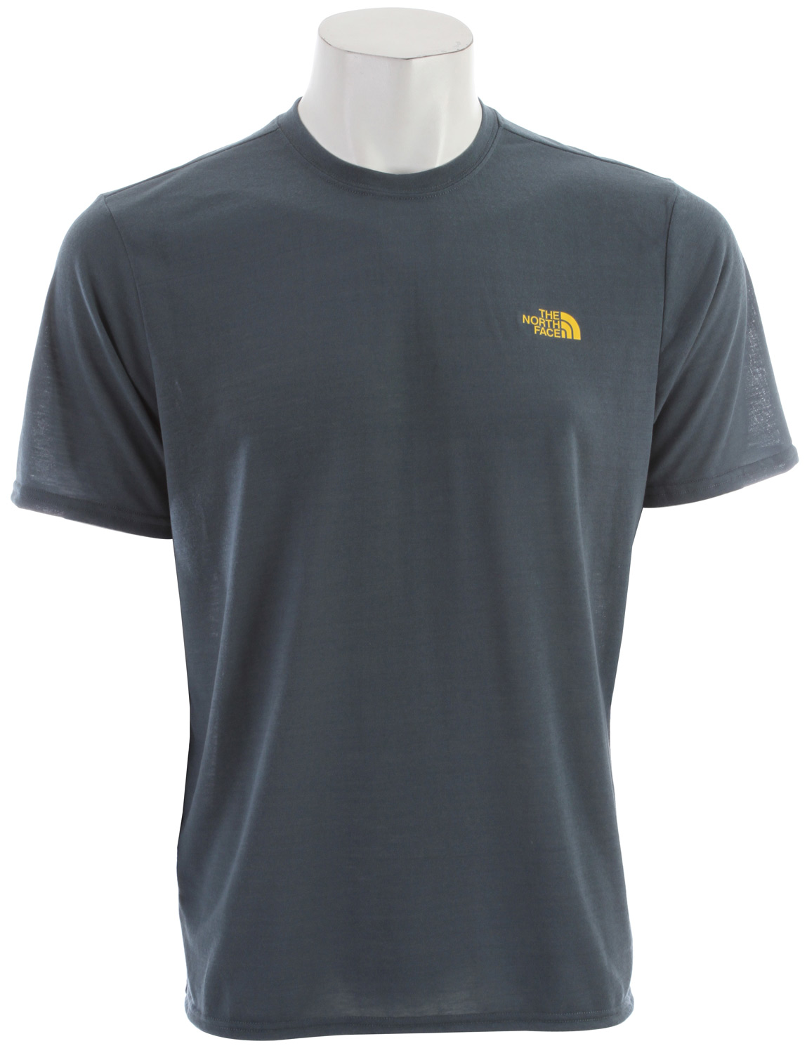 "Short-sleeve VaporWick tee provides excellent moisture management with a comfortable cotton feel, perfect for in-the-gym training. Key Features of the The North Face Reaxion Crew T-Shirt: Soft, ultralight fabric Relaxed fit Set-in sleeves Drop-tail hem Locker loop Center back: 27.5"" Fabric: 140 g/m2 100% polyester jersey - $17.95"