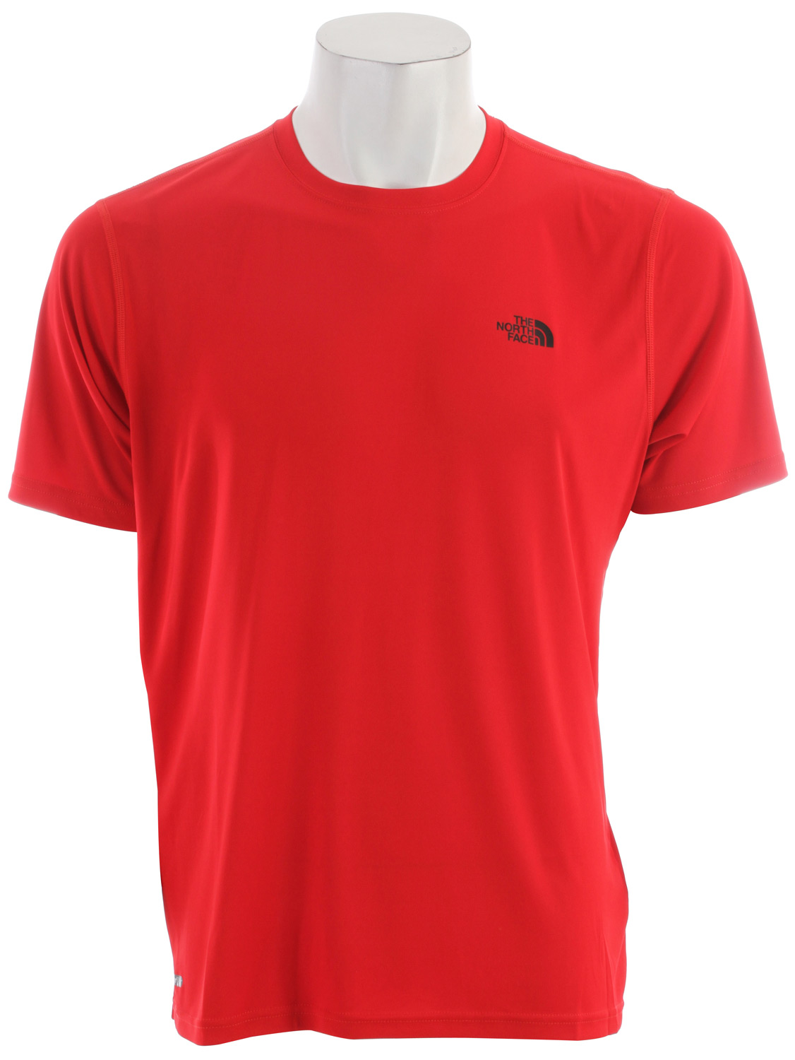 "A great base or top layer in and out of the gym. Key Features of the The North Face Velocitee Crew T-Shirt: Soft, ultralight fabric Pop logos Avg weight: 3.17 oz Center back: 27.75"" Fabric: 93 g/m2 (2.7 oz/yd) 100% polyester Velocitee interlock knit - $13.95"