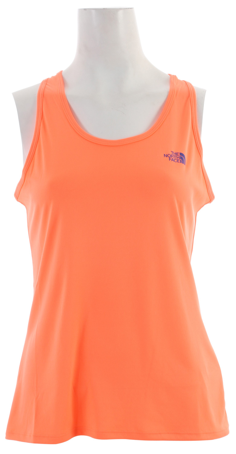 "A great base or top layer in and out of the gym. Key Features of the The North Face Velocitee Singlet Top: Soft, ultralight fabric Pop logos Avg weight: 2.3 oz Center back: 22"" Fabric: 93 g/m2 (2.7 oz/yd) 100% polyester Velocitee interlock knit - $11.95"