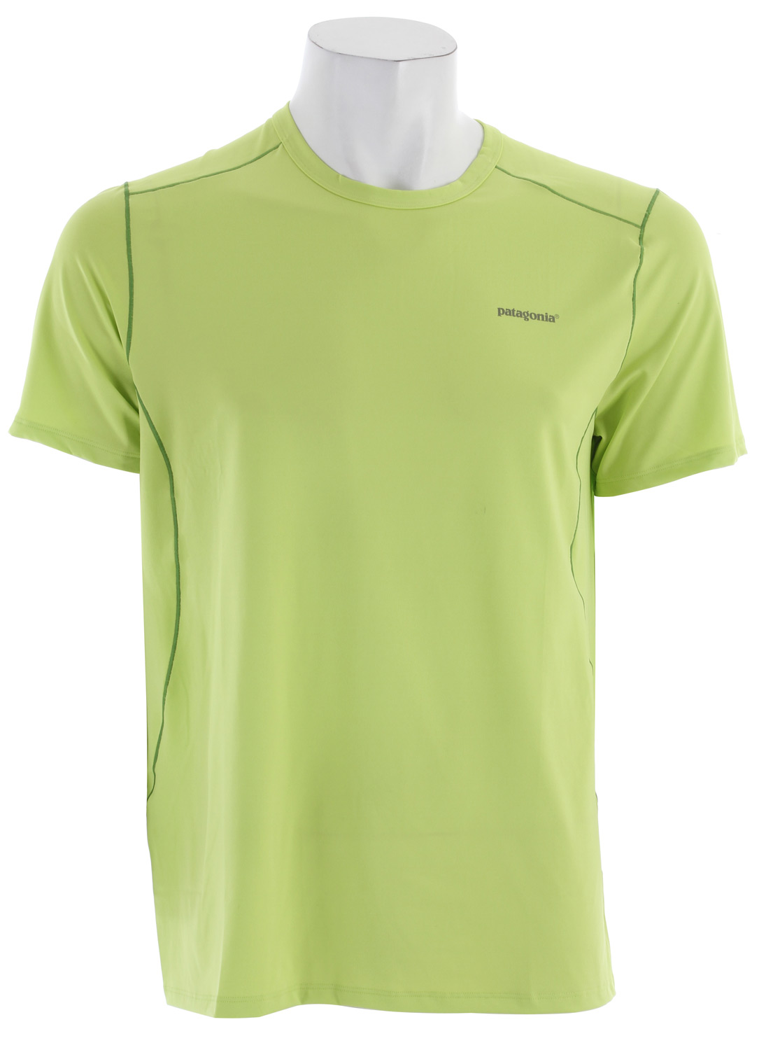 Our stretchiest synthetic baselayer keeps you dry and cool in warm conditions. fabriC: 5.1-oz 84% polyester/16% spandex jersey, with 50+ UPF sun protection and Gladiodor odor control for the garmentKey Features of the Patagonia Capilene 1 Sw Stretch T-Shirt: Superior stretch and moisture managemen; with 50+ UPF sun protection Durable smooth jersey face is comfortable against the skin Self-fabric crew neck Seams offset for maximum mobility with minimum chafe Reflective heat-transfer logo Machine-wash cold, tumble dry at low temperature Slim fit - $16.95