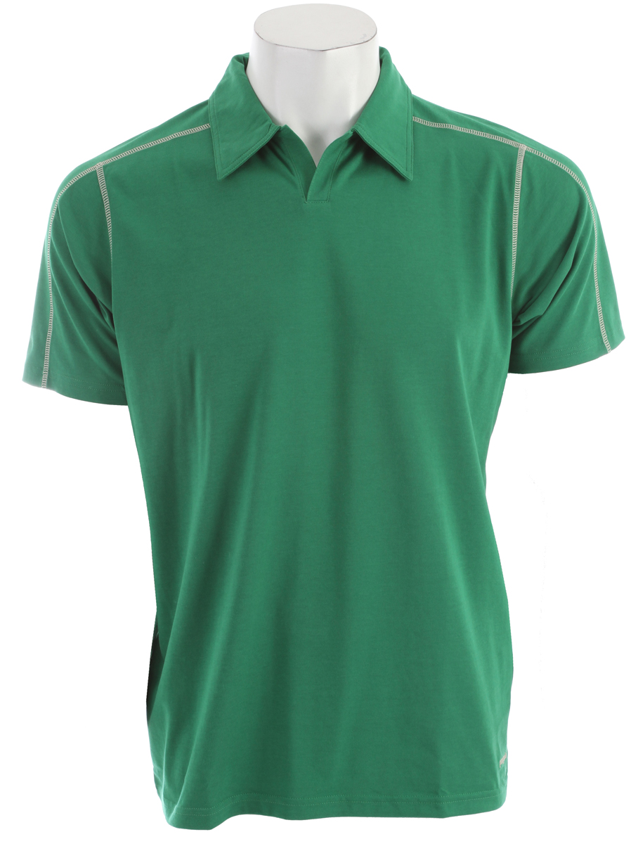 A quick-to-dry, stretchy polo shirt made of a lightweight organic cotton/polyester/spandex jersey-knit blend, with 50+ UPF sun protection FABRIC: 5.8-oz 55% organic cotton/35% all-recycled polyester/10% spandex jersey knit, with 50+ UPF sun protectionKey Features of the Patagonia Stretch Polo: Slim fit Made of a plaited stretch fabric blend with a soft organic cotton exterior and polyester on the inside to wick moisture Short placket and offset shoulder seams for pack-wearing comfort Contrast stitching and logo Provides 50UPF sun protection Straight hem - $41.95