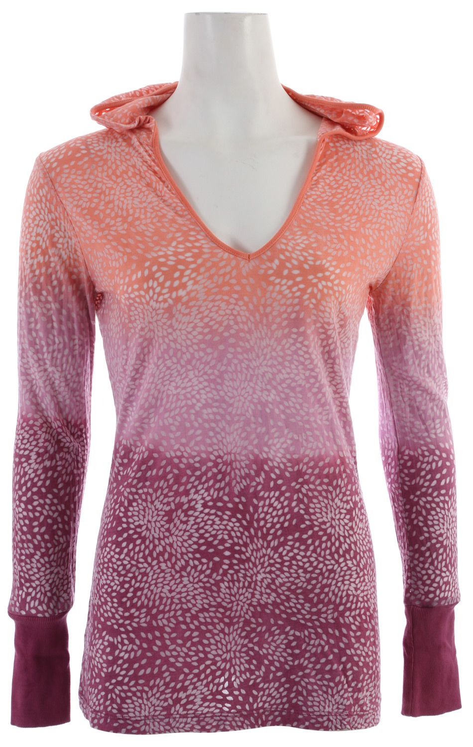 Key Features of the Prana Julz Hoodie Top: 50% organic cotton/50% recycled polyester Lightweight burnout fabric Everybody's favorite pullover silhouette Elegant pattern with double dip dye wash technique - $48.95