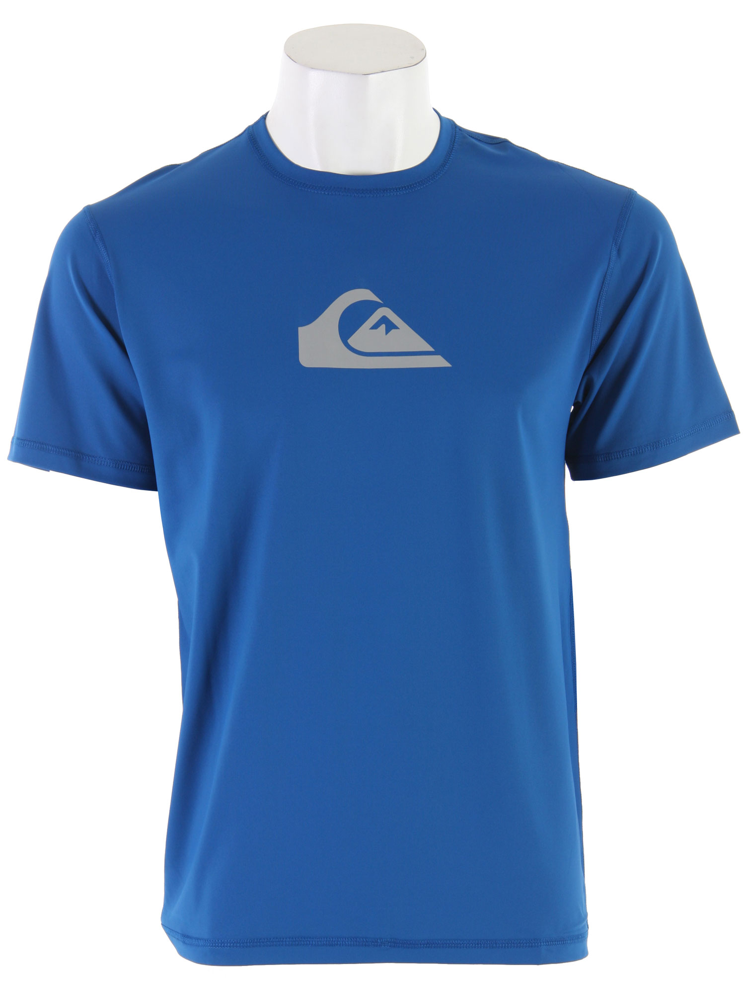 Surf The season is here to rock out T-shirts at the beach or the pool. Don't rock out with just any shirt, but the Quiksilver Solid Streak S/S Surf T-Shirt Royal. Its simple design adds a modern touch to an ordinary T-shirt. The Quiksilver logo stands out front and center on a loosely fitted crew neck shirt. Made with flatlock stitches, this is perfect for a day out in the sun.Key Features of the Quiksilver Solid Streak S/S Surf T-Shirt: 6.3 oz UPF 50+ surf shirt Short sleeve loose fit style with crew neck design Flatlock stitched Boardshort loop fastener - $22.95
