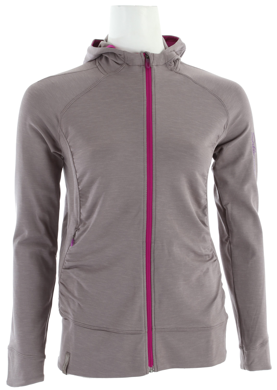 Fitness This soft, feminine looking hoody is both comfortable and casual, ideal for running or everyday.Key Features of the Salomon Whisper II Midlayer Hoodie: Actitherm uneven twill 2 zipped pockets Reflective branding Insert: PES 91% EL 9% Body: PES 89% EL - $61.95