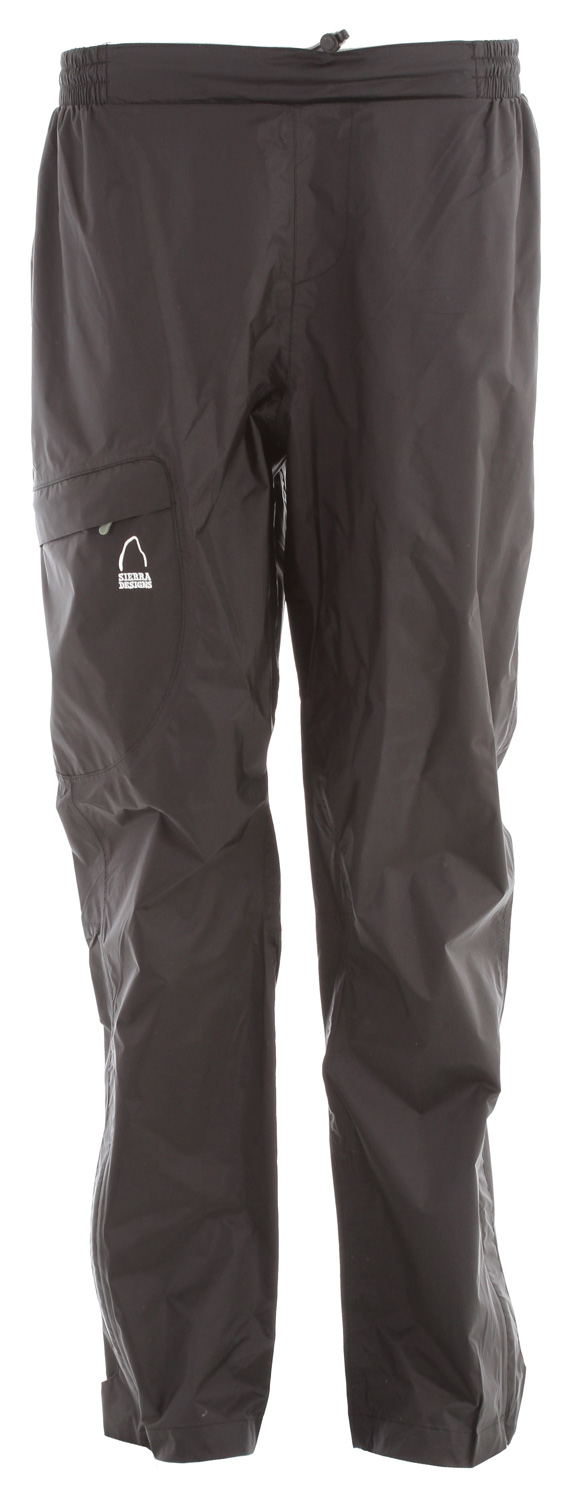 "Camp and Hike Lightweight, compact WP/B rain pant for backpacking.Key Features of the Sierra Designs Hurricane Rain Pants: 5,000mm Waterproof 5,000g Breathability Fully-Taped PVC-Free Seams 1 Zippered Thigh Pocket Waistband with Elastic Panels and Draw Cord Adjustment Articulated Knees Lower Leg Vent with Storm Flap Adjustable Cuff INSEAM LENGTH: 31"" (M) WEIGHT: 7 oz SHELL FABRIC: Hurricane 2L WP/B 5,000 / 5,000z - $28.95"