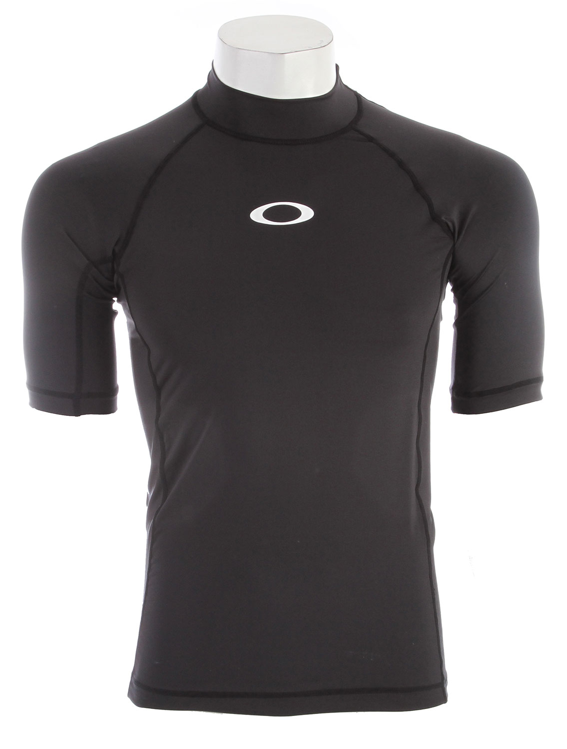 The Short?Sleeve Pressure Rashguard keeps serious surfers comfortable on the wave and behind the boat. In a contoured mock?neck design, this performance rashguard lets you move in style and without restriction in color?blocked stretch fabric.Key Features of the Oakley SS Pressure Rashguard: Quick?drying stretch fabric delivers lightweight comfort and freedom of movement UV+ 50 fabric keeps you protected in and out of the water 92% polyester / 8% spandex Fit: Regular - $21.95