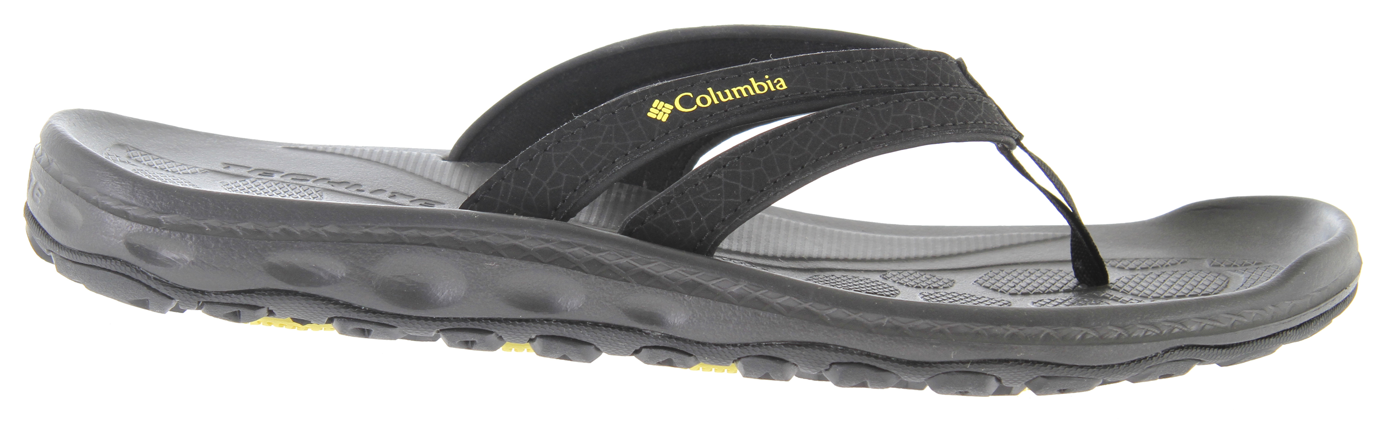 "Surf A comfortable sandal, the Techsun Flip sandal is designed with wet and dry traction in mind.Key Features of the Columbia Techsun Flip Sandals: A lightweight synthetic leather strap with dynamic movement for a comfortable feel Full length Techlite midsole with textured footbed for ""anti-slip"" underfoot Full length Omni-Grip traction with sticky rubber compound for traction in wet conditions; dual lug design for traction on land, rocks, and in and around the water. - $22.95"
