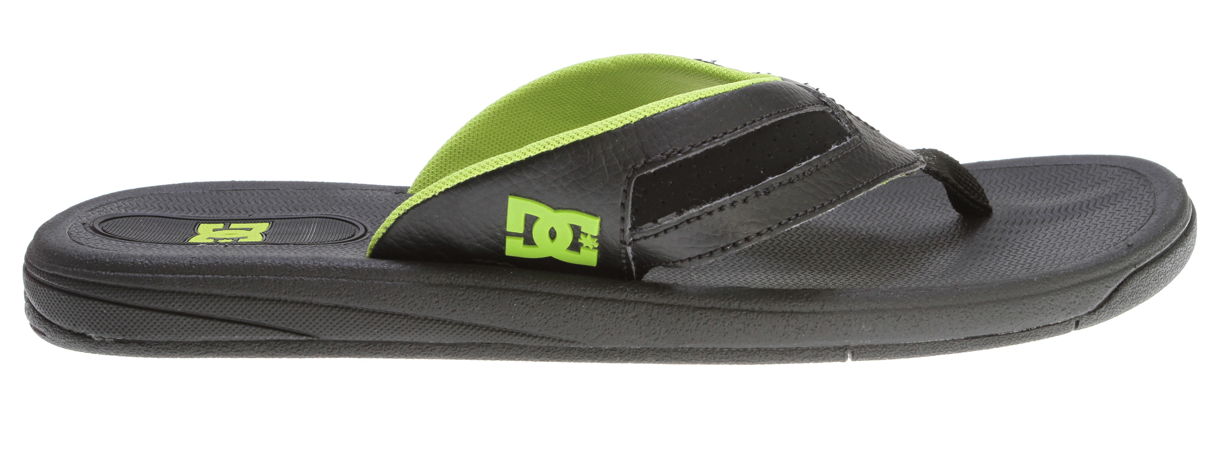 "Skateboard Key Features of the DC Cabo Sandals: Nubuck or leather upper with perf detail Cushioned CMEVA footbed Soft lining DC's trademarked ""Pill Pattern"" rubber outsole - $32.00"