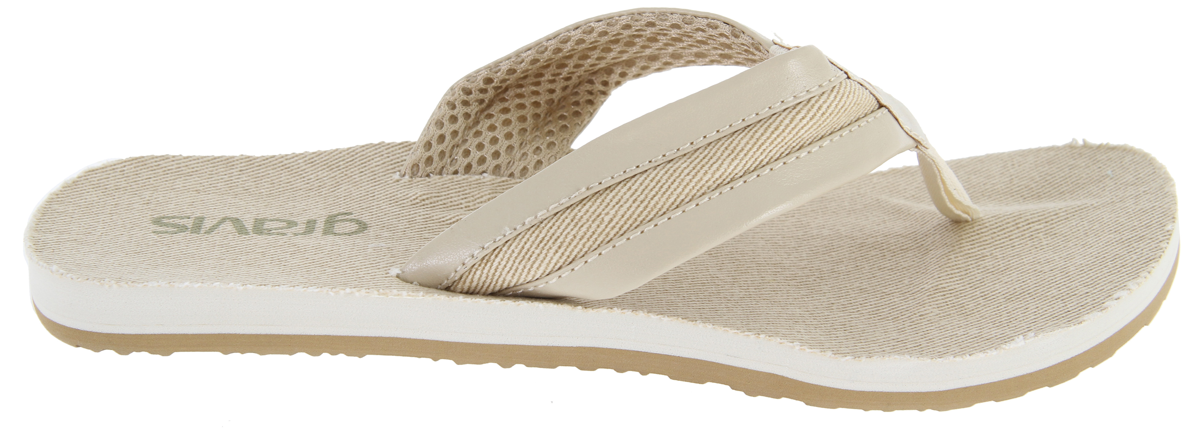 Surf Key Features of the Gravis San Lucas Sandals: Cotton damask topdeck materials Arch support Synthetic leather strap with canvas underlays Mesh lined strap Nylon webbing toe post New molded top deck with massaging nubs Soft touch eva foam topdeck Durable traction outsole - $7.95