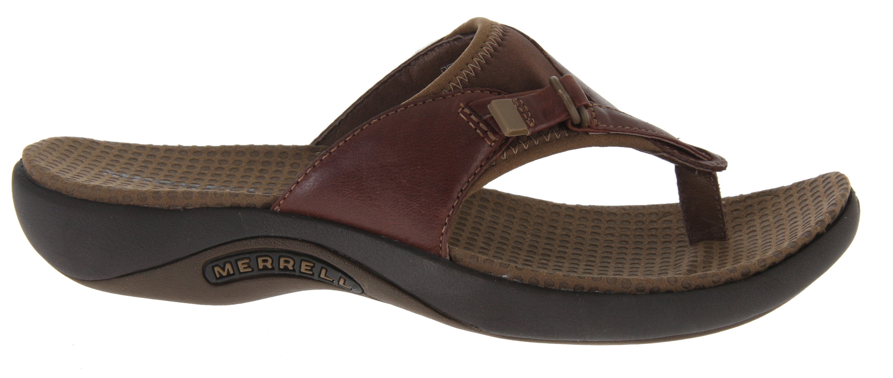 Surf On the Gardena Thong sandal Merrell laid a leaf of nubuck leather over a thong and added neoprene/Lycra to give you a comfortable, beach-tight fit. An EVA midsole with gender-specific QForm (R) Comfort stride alignment combines with an Oasis Sole for highly cushioned traction.Key Features of the Merrell Gardena Thong Sandals: Cement construction provides lightweight durability Nubuck leather and Lycra (R) upper Lycra (R) lining Microfiber wrapped anatomical footbed with Aegis (R) antimicrobial solution Molded nylon arch shank QForm (R) comfort provides women's specific stride-sequenced cushioning Merrell (R) air cushion in the heel absorbs shock and adds stability Merrell Oasis Sole Sticky rubber Weight: 11 ozs. - $48.95