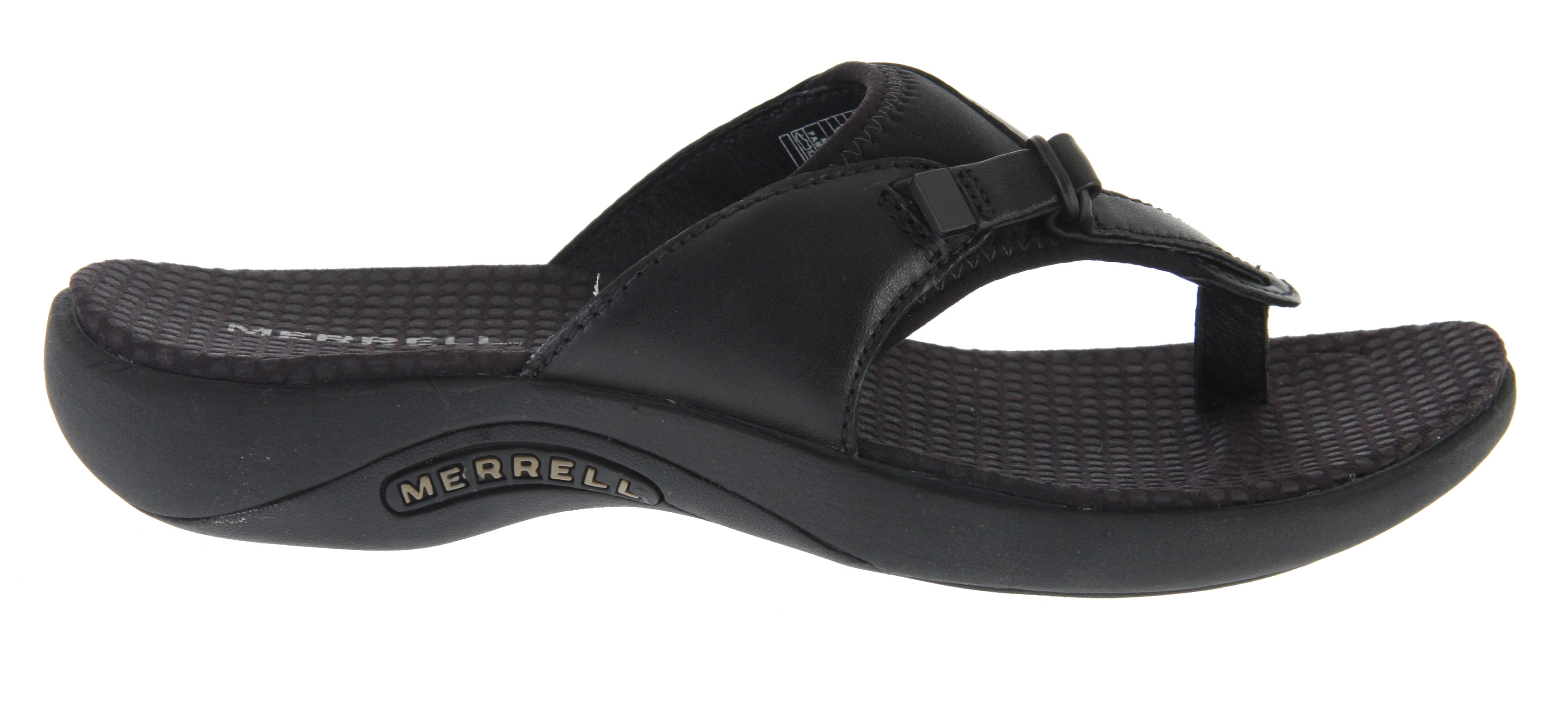 Surf On the Gardena Thong sandal Merrell laid a leaf of nubuck leather over a thong and added neoprene/Lycra to give you a comfortable, beach-tight fit. An EVA midsole with gender-specific QForm (R) Comfort stride alignment combines with an Oasis Sole for highly cushioned traction.Key Features of the Merrell Gardena Thong Sandals: Cement construction provides lightweight durability Nubuck leather and Lycra (R) upper Lycra (R) lining Microfiber wrapped anatomical footbed with Aegis (R) antimicrobial solution Molded nylon arch shank QForm (R) comfort provides women's specific stride-sequenced cushioning Merrell (R) air cushion in the heel absorbs shock and adds stability Merrell Oasis Sole Sticky rubber Weight: 11 ozs. - $74.95