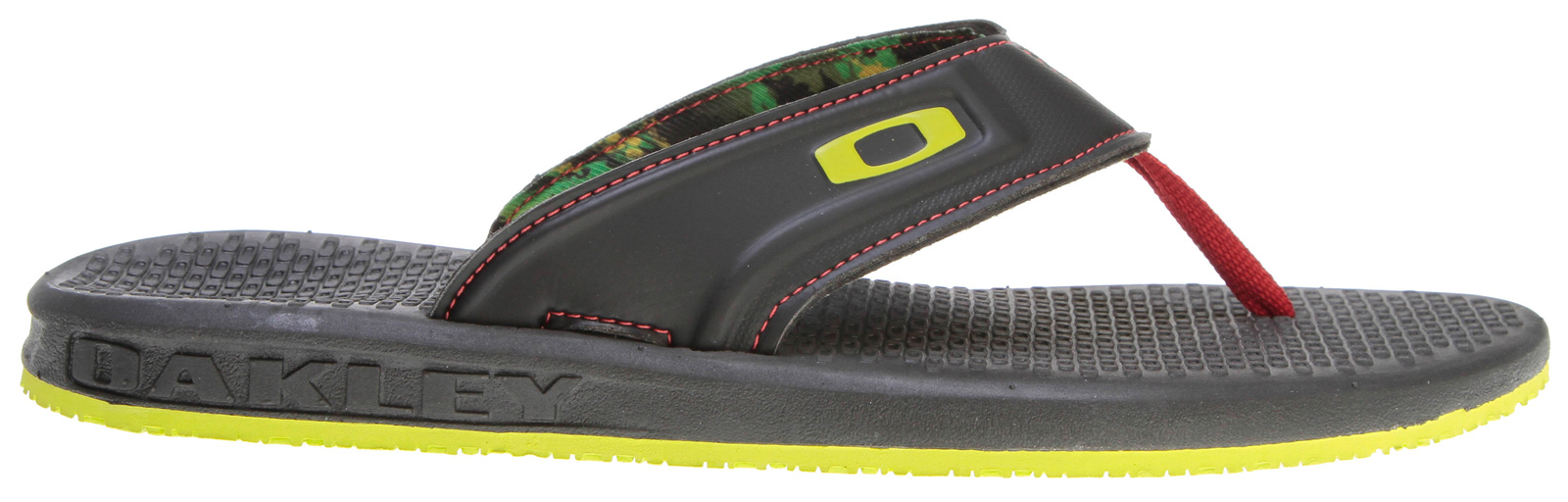 Surf Key Features of the Oakley Airlift Sandals: Upper: Soft-touch compression molded polymer strap with Velcro closure Lining: Moisture wicking textile liner with Microban® antimicrobial treatment Footbed/Midsole: Compression molded EVA deck with custom repeating Icon texture Outsole: Lightweight compression EVA - $20.95