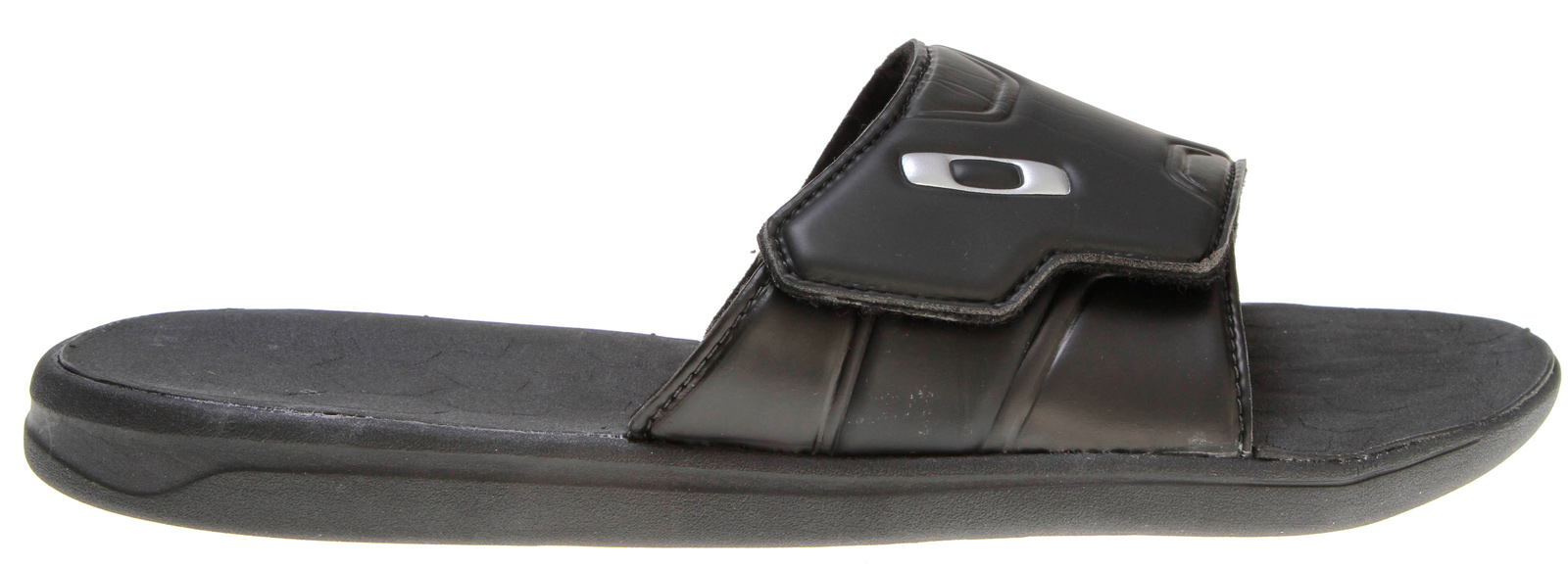 Surf Key Features of the Oakley Operative Slide Sandals: Upper: Soft-touch compression molded polymer strap with Velcro closure Lining: Moisture wicking textile liner with Microban® antimicrobial treatment Footbed/Midsole: Compression molded EVA chassis Outsole: High traction, high abrasion Unobtanium® EVA insert outsole - $36.00