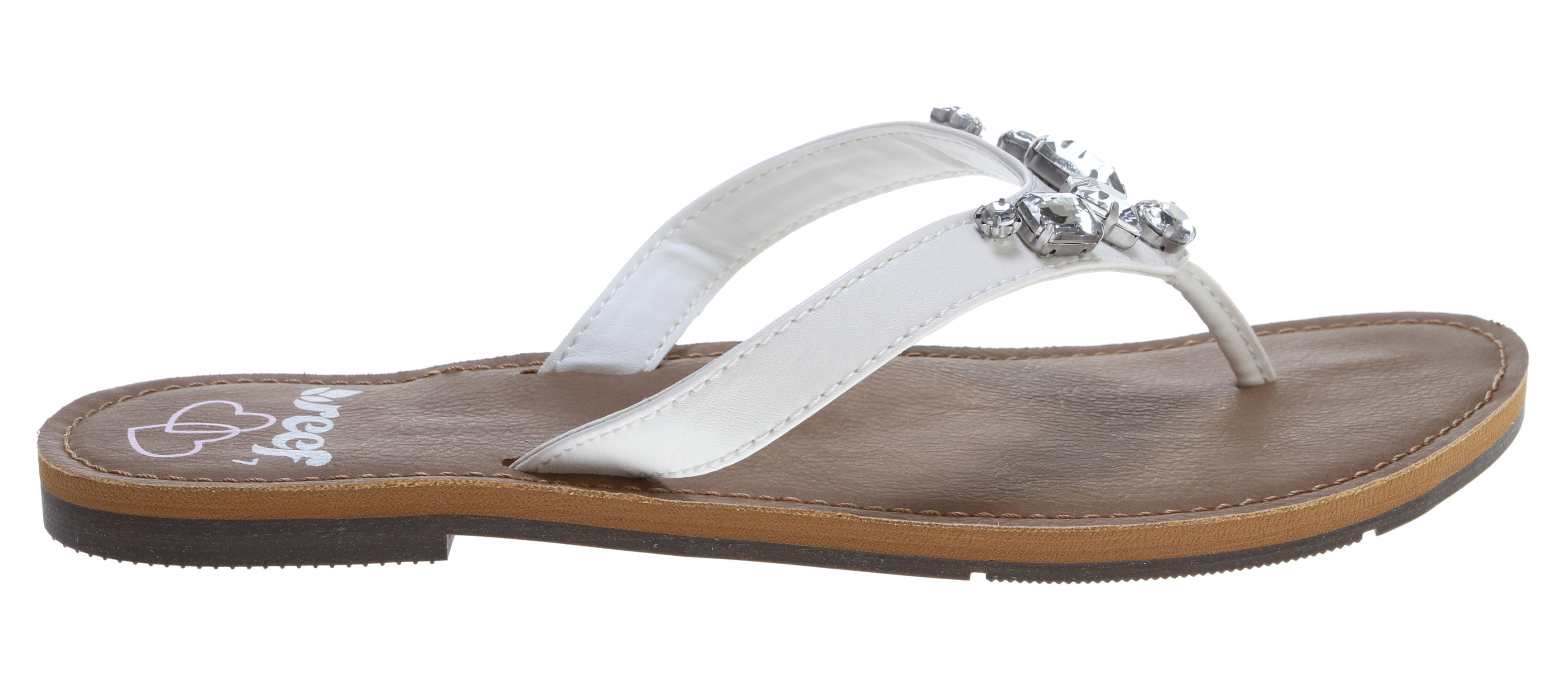 Surf Key Features of the Reef Bling It On Wedding Sandals: Part of the reef wedding collection Synthetic strap with large decorative jewels synthetic leather deck; eva footbed with anatomical arch support Durable rubber outsole and heel - $23.95