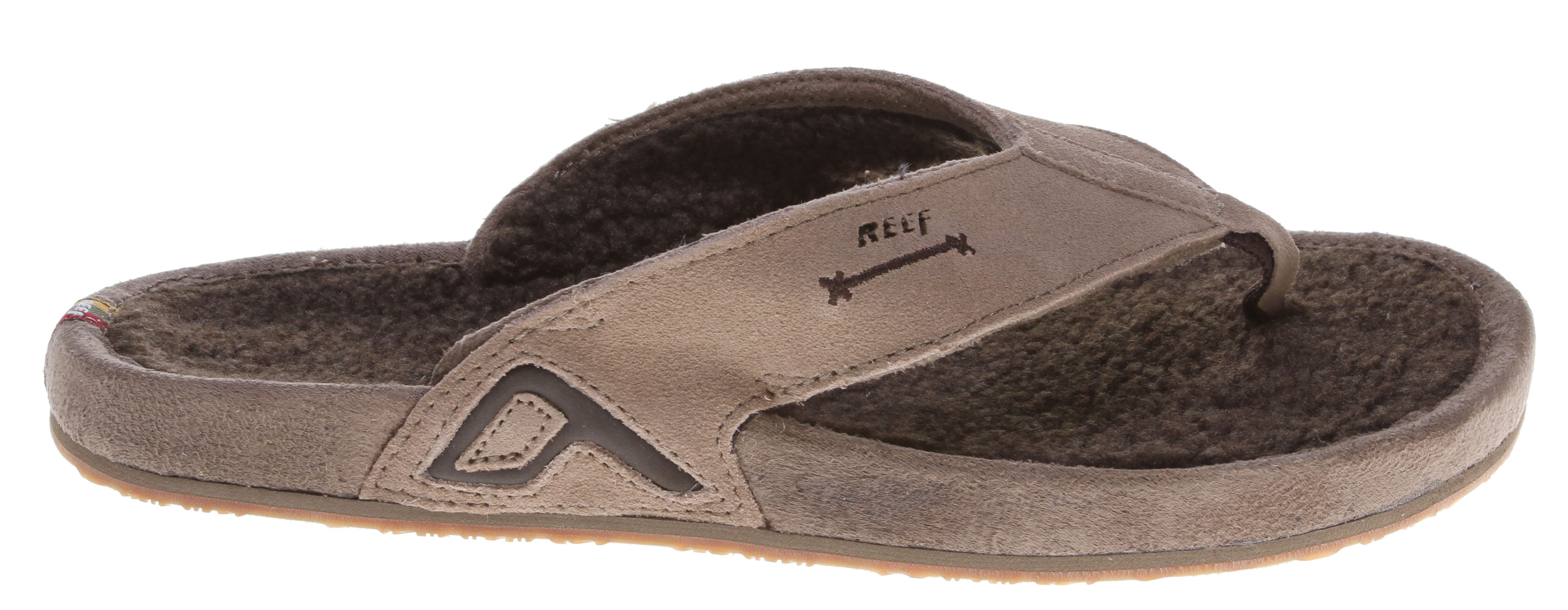 Surf Key Features of the Reef Chewmaca Sandals: Cozy suede leather with shearling lined upper Compression molded EVA construction Wrapped midsole with shearling footbed Molded reef rubber outsole - $38.95