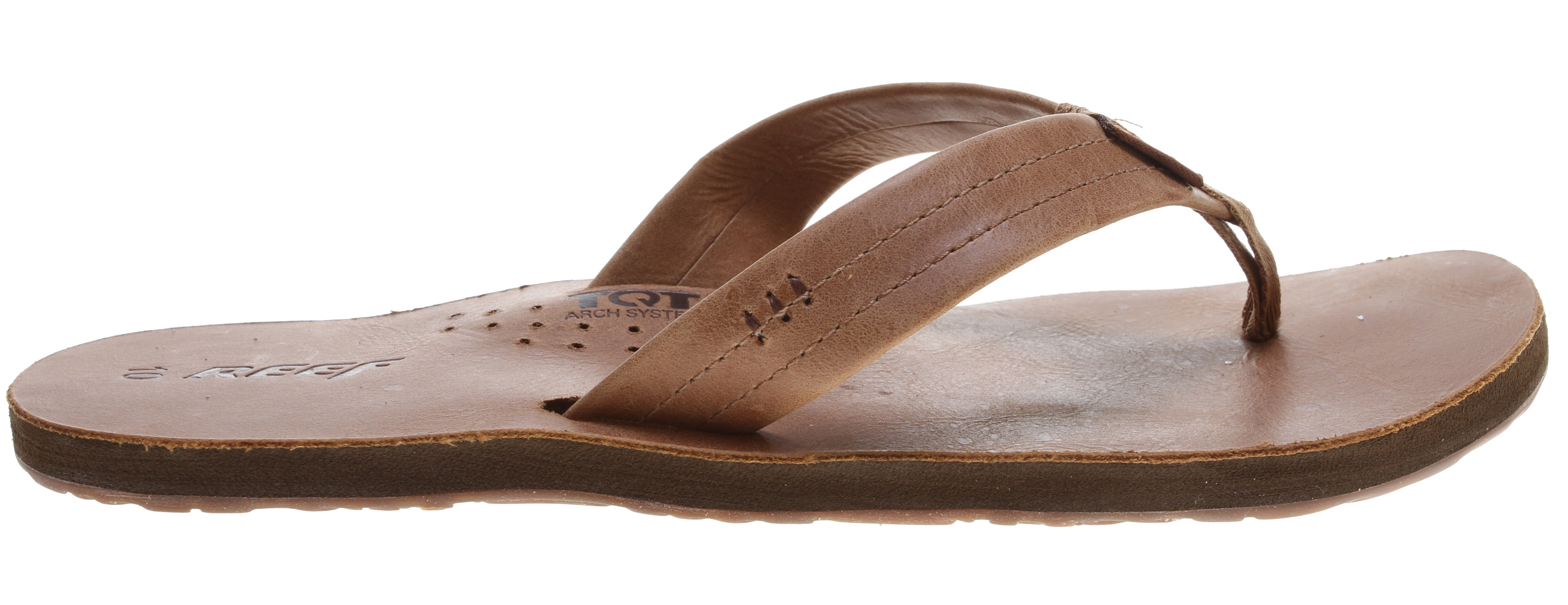 "Surf Key Features of the Reef Draftsmen Sandals: Split leather strap with wax and polish finish footbed and strap Molded TQT ""Thirst Quenching Technology"" arch system Reef quality EVA midsole material and construction Highly abrasion resistant molded Reef rubber non-marking outsole - $38.95"