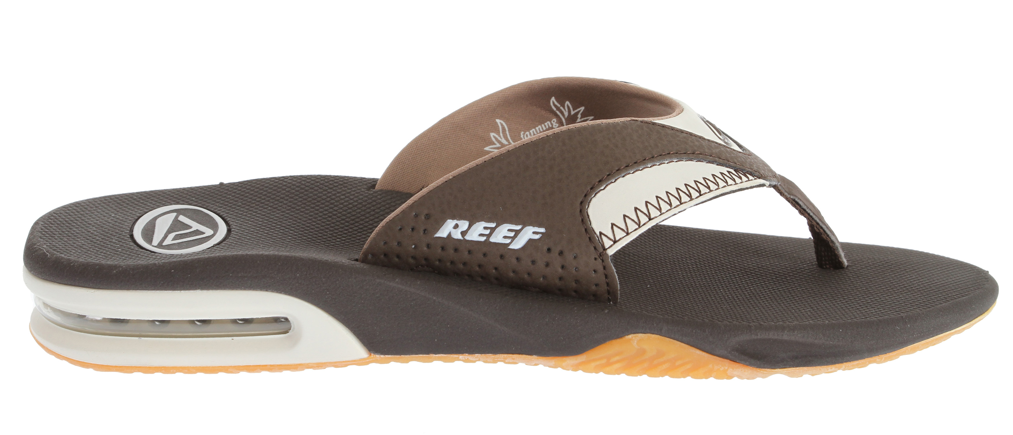 Surf Wearing the Fanning may not make you a pro like Mick Fanning, but these sandals are designed for a pro's adventurous lifestyle, with built in arch support for ultimate comfort, made water-friendly, and church key on the bottom of your sandal so your never unprepared for your journeys. Key Features of the Reef Fanning Sandals: Comfortable, water friendly synthetic nubuck upper Contoured compression molded eva footbed with anatomical arch support Full 360degrees heel airbag enclosed in soft polyurethane Thirst quenching technology (church key bottle opener on the outsole) Reef icon herringbone rubber outsole - $32.95