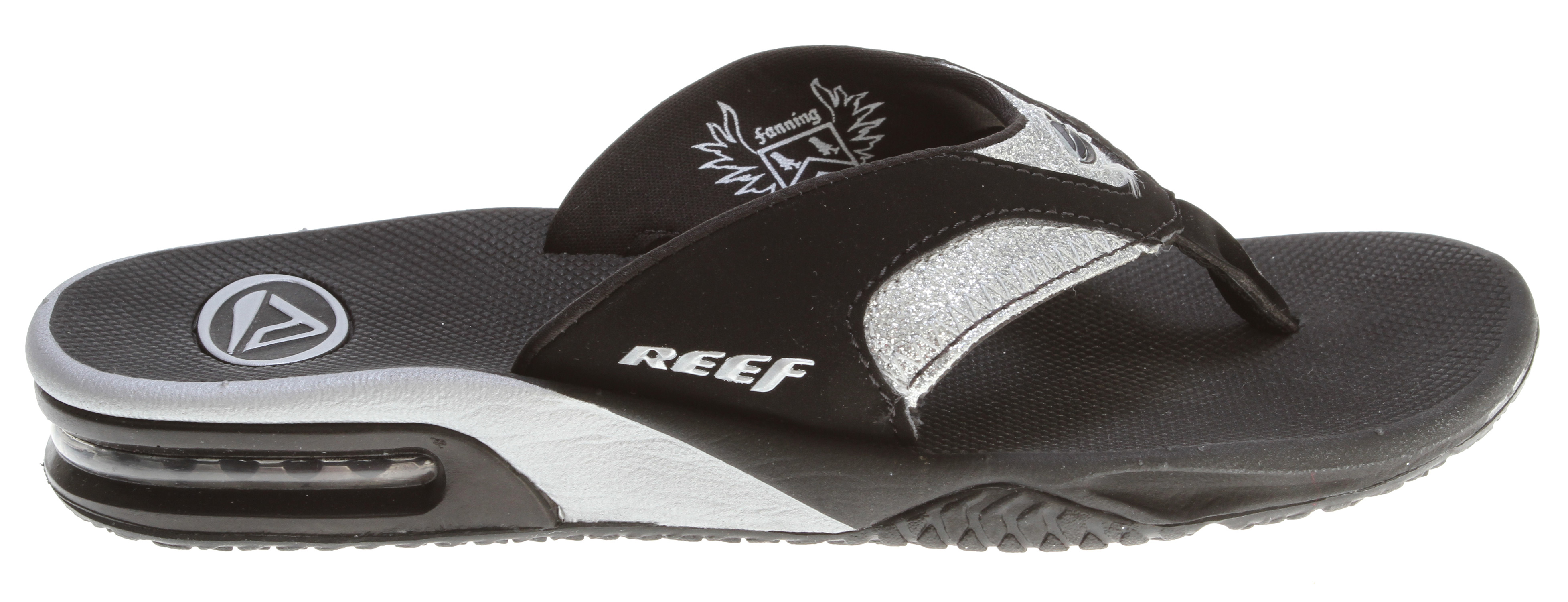 Surf Key Features of the Reef Fanning Luxe Sandals: Mick fanning's signature sandal Synthetic nubuck upper with sparkle detail Contoured eva footbed with anatomical arch support Full 360 degree heel airbag enclosed in soft polyurethane Church key to open your soda bottle - $37.95