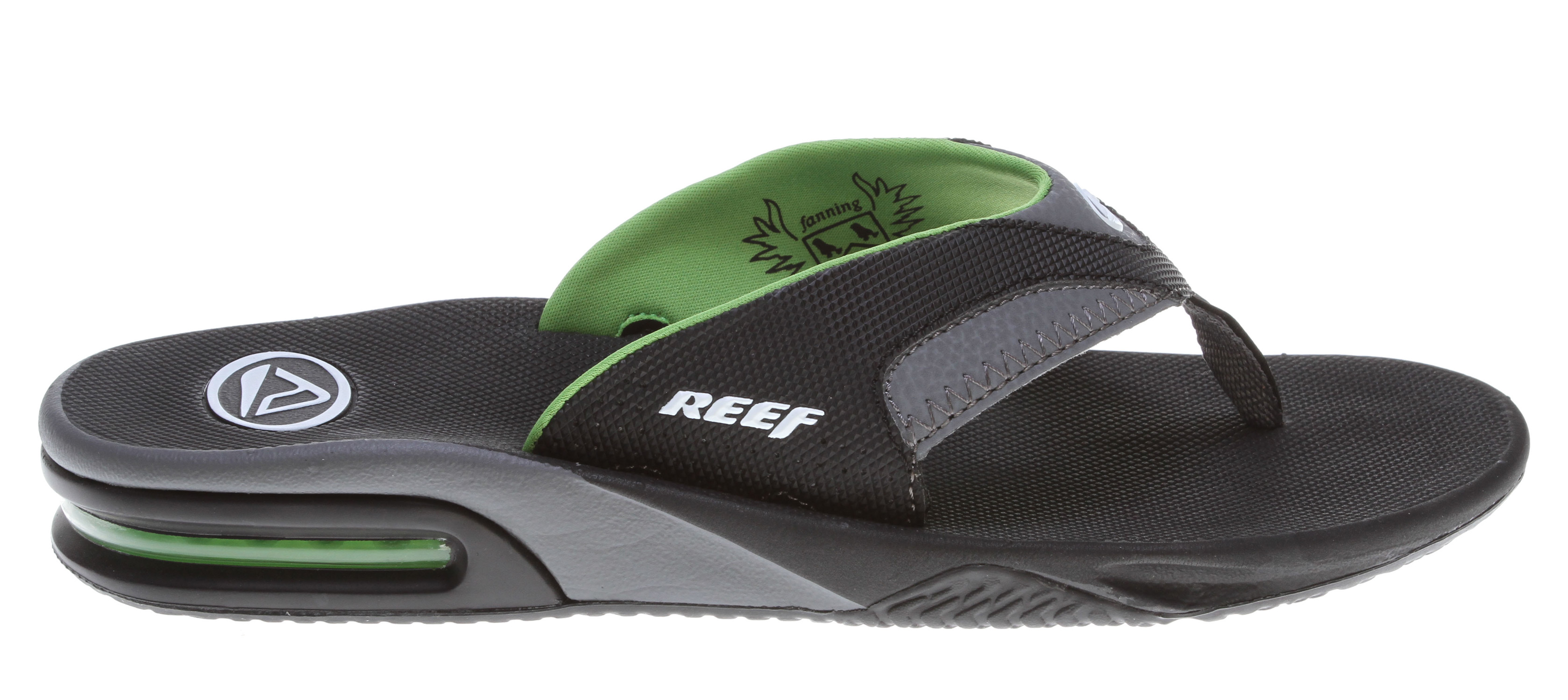 Surf Key Features of the Reef Fanning Sandals: Mick Fanning's signature footwear Guy's Performance Sandal Comfortable, water friendly synthetic nubuck upper Contoured compression molded EVA footbed with anatomical arch support Full 360° heel airbag enclosed in soft polyurethane Church key to open your soda bottle Reef icon herringbone rubber outsole - $34.95