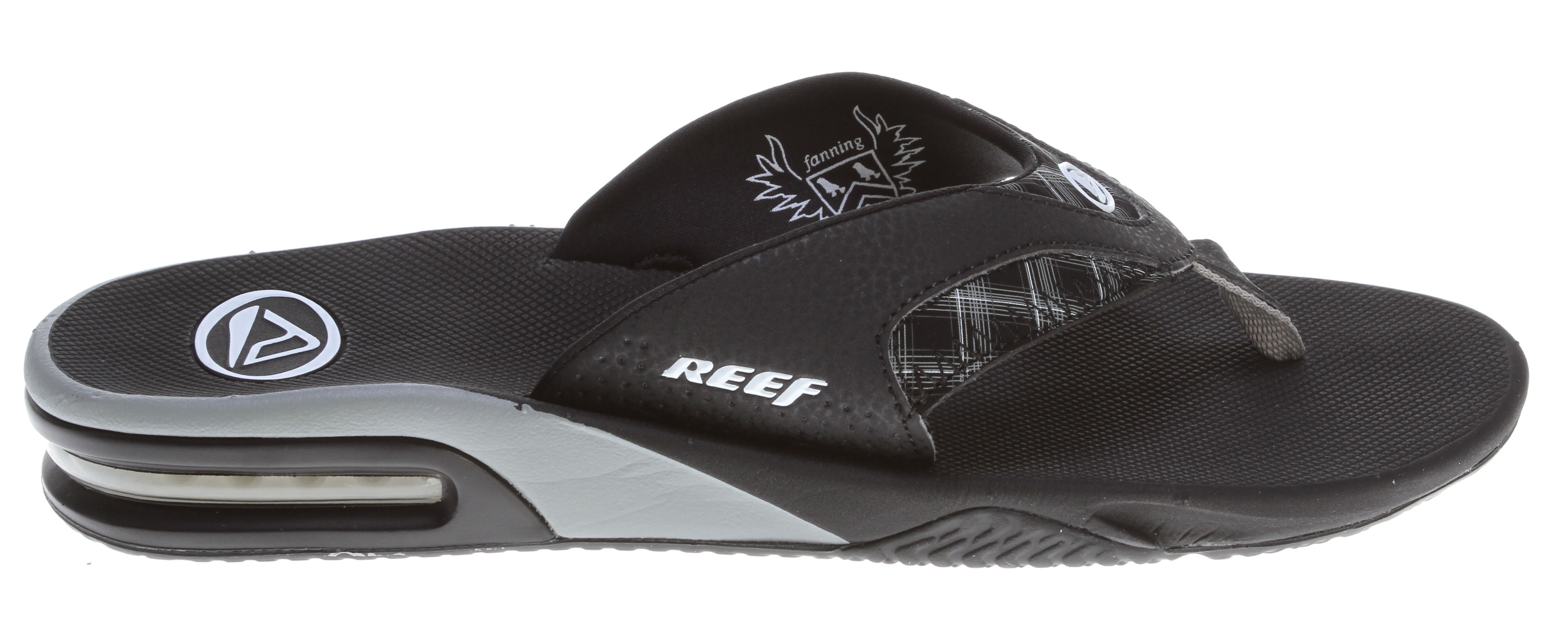 Surf Key Features of the Reef Fanning Sandals: Mick Fanning's signature footwear Guy's Performance Sandal Comfortable, water friendly synthetic nubuck upper Contoured compression molded EVA footbed with anatomical arch support Full 360° heel airbag enclosed in soft polyurethane Church key to open your soda bottle Reef icon herringbone rubber outsole - $35.95