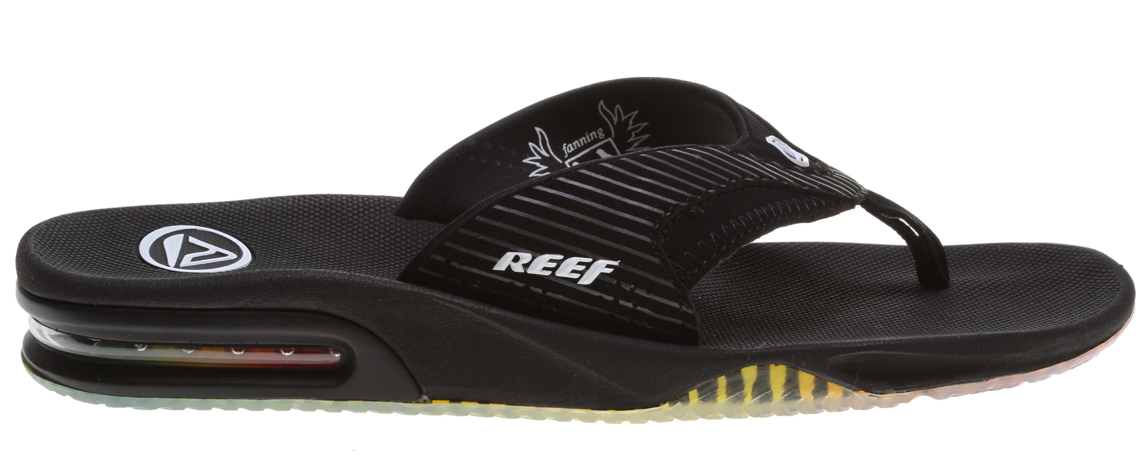 "Surf Key Features of the Reef Fanning Sandals: Comfortable, water friendly synthetic nubuck upper contoured compression molded eva footbed with anatomical arch support Full 360° heel airbag enclosed in soft polyurethane Church key to open your ""soda"" bottle Reef icon herringbone rubber outsole - $34.95"