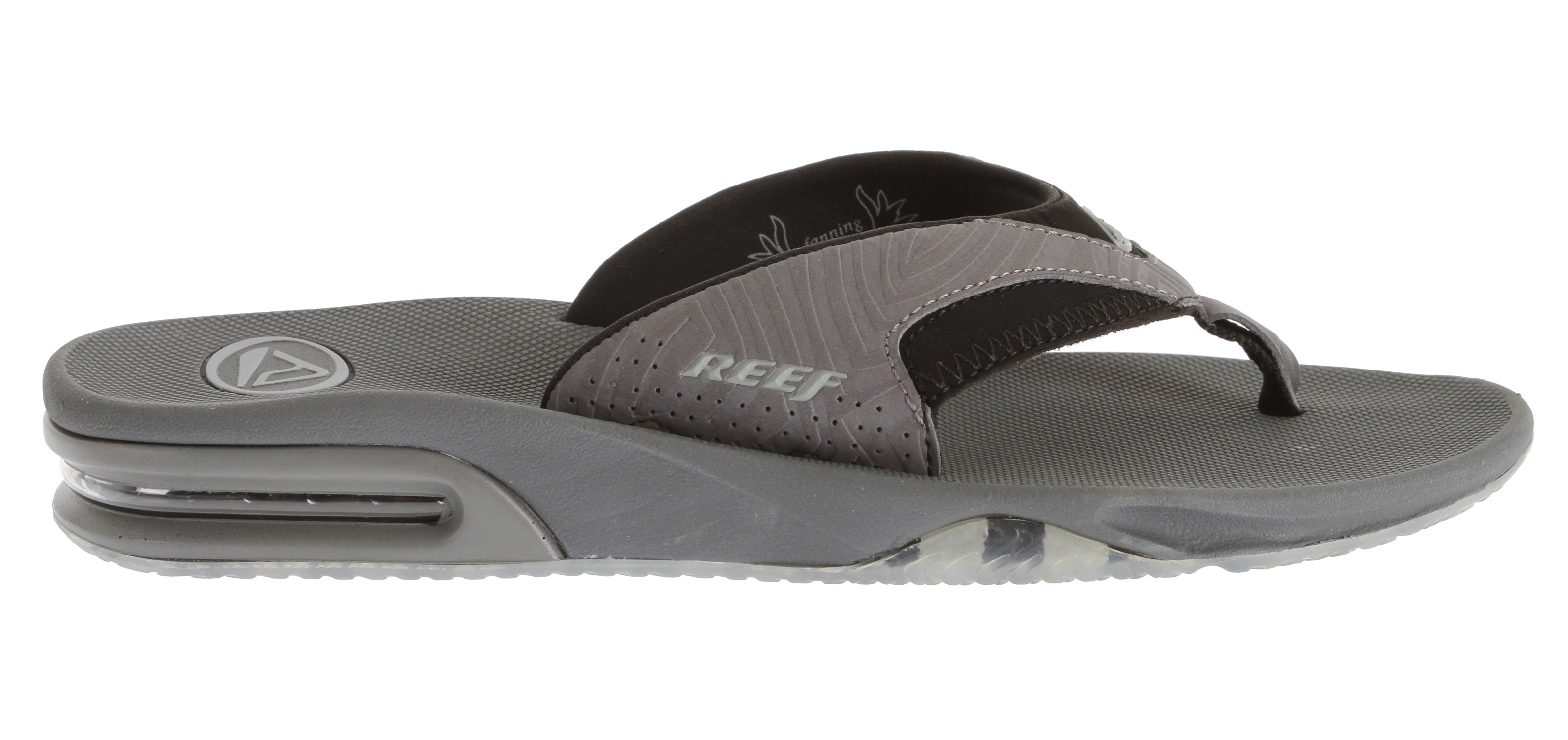 Surf Wearing the Fanning may not make you a pro like Mick Fanning, but these sandals are designed for a pro's adventurous lifestyle, with built in arch support for ultimate comfort, made water-friendly, and church key on the bottom of your sandal so your never unprepared for your journeys. Key Features of the Reef Fanning Print Sandals: Comfortable, water friendly synthetic nubuck upper Contoured compression molded eva footbed with anatomical arch support Full 360degrees heel airbag enclosed in soft polyurethane Thirst quenching technology (church key bottle opener on the outsole) Reef icon herringbone rubber outsole - $35.95