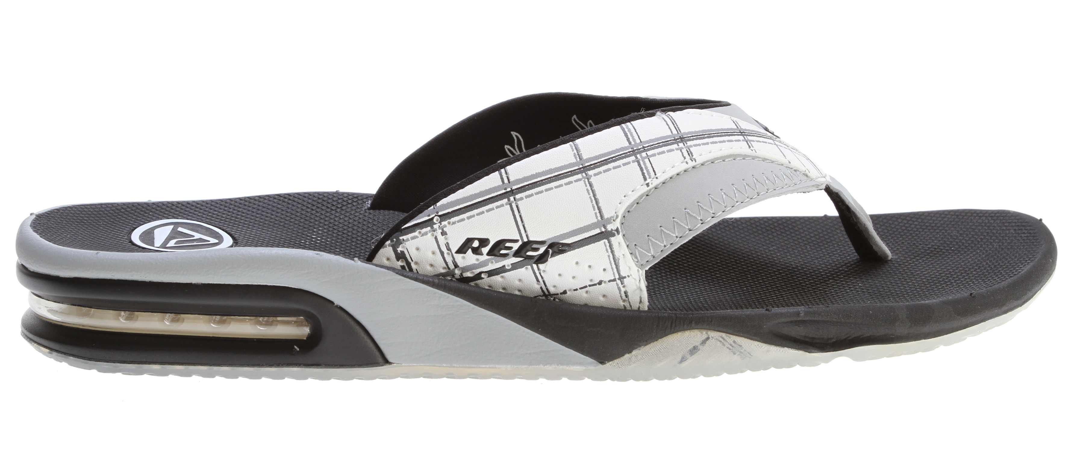 "Surf Key Features of the Reef Fanning Prints Sandals: Comfortable, water friendly synthetic nubuck upper contoured compression molded eva footbed with anatomical arch support Full 360° heel airbag enclosed in soft polyurethane Church key to open your ""soda"" bottle Reef icon herringbone rubber outsole - $38.95"