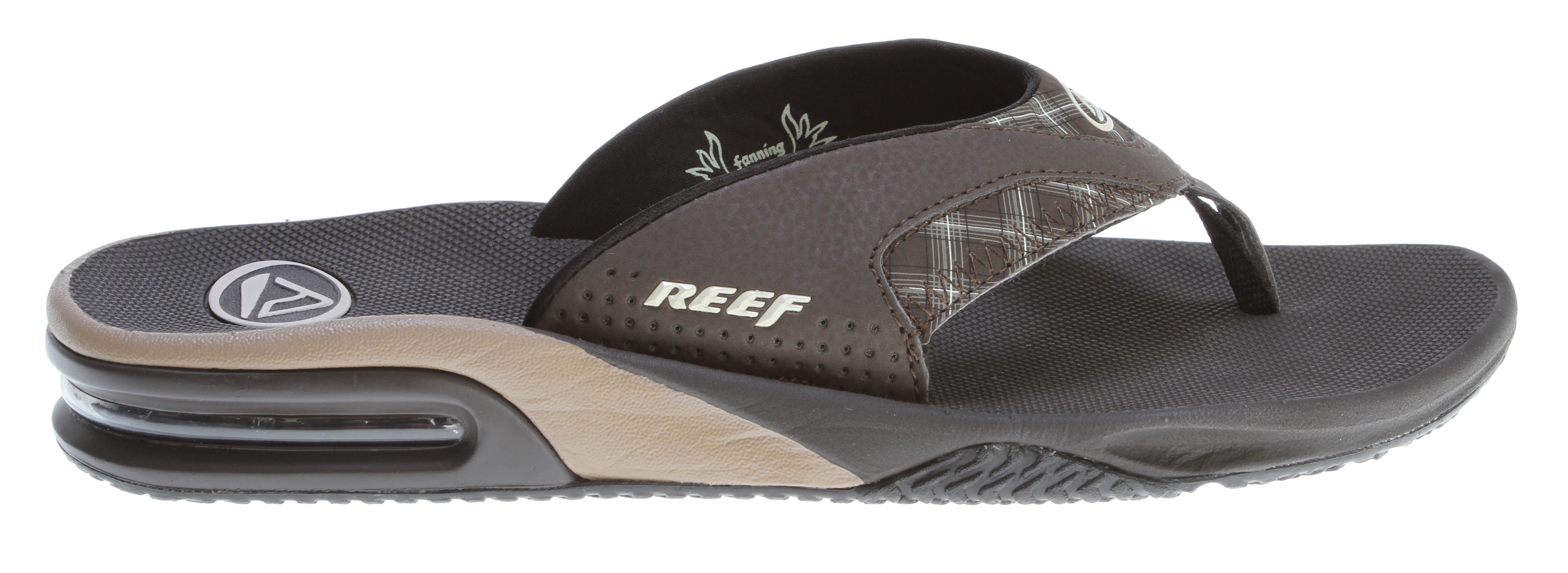 "Surf Key Features of the Reef Fanning Sandals: Comfortable, water friendly synthetic nubuck upper contoured compression molded eva footbed with anatomical arch support Full 360° heel airbag enclosed in soft polyurethane Church key to open your ""soda"" bottle Reef icon herringbone rubber outsole - $38.95"