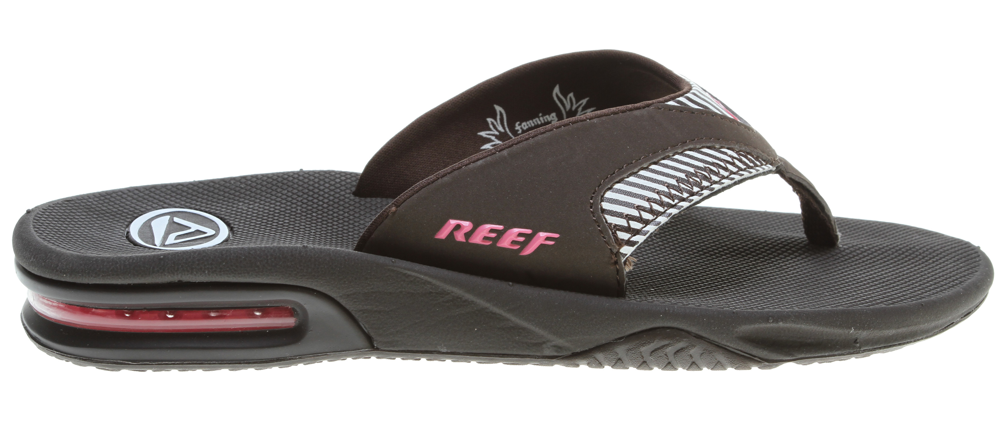 Surf Key Features of the Reef Fanning Sandals: Mick Fanning's signature sandal Water-friendly synthetic nubuck upper Contoured EVA footbed with anatomical arch support Full 360 degree heel airbag enclosed in soft polyurethane Church key to open your soda bottle - $34.95