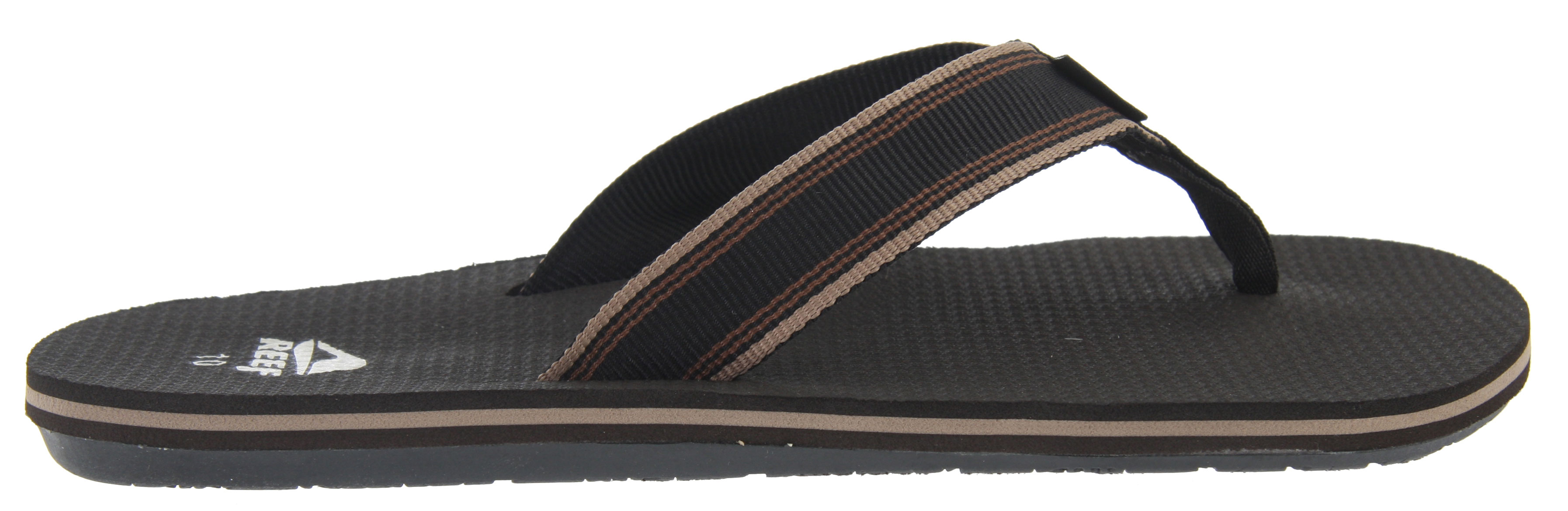 Surf Lets hit the beach with the Reef Forte Sandals. Super comfortable and practical, these Reef Forte Sandals features a soft and grippy footbed. It's perfect for long walks on the beach on a nice summer day. Its contoured footbed allows arch support. Its casual flip flop design featuring multi-colored stripes all on the side of the sandals adds character to an otherwise ordinary sandal. Wear these all summer long and feel comfortable.Key Features of the Reef Forte Sandals: New Super Soft And Grippy Footbed Soft Reef Polyester Woven Strap With Ticking Color Detailing Contoured Footbed With Anatomical Arch Support Grippy Molded Reef Rubber Outsole - $18.95
