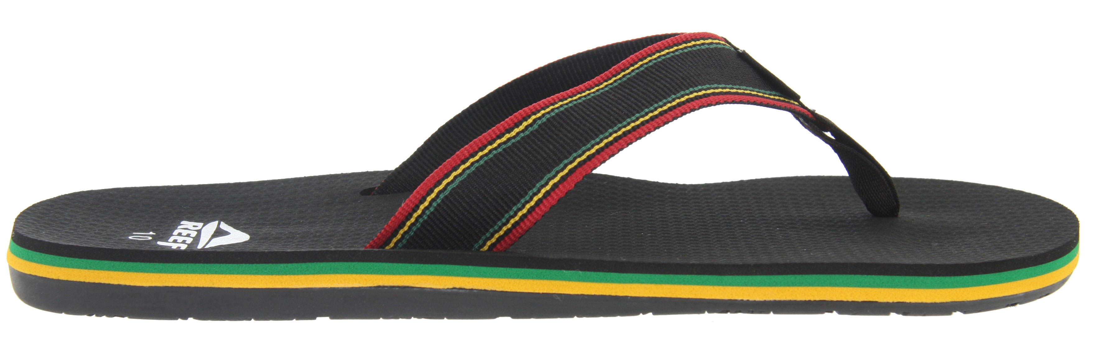 Surf Lets hit the beach with the Reef Forte Sandals. Super comfortable and practical, these Reef Forte Sandals features a soft and grippy footbed. It's perfect for long walks on the beach on a nice summer day. Its contoured footbed allows arch support. Its casual flip flop design featuring multi-colored stripes all on the side of the sandals adds character to an otherwise ordinary sandal. Wear these all summer long and feel comfortable.Key Features of the Reef Forte Sandals: New Super Soft And Grippy Footbed Soft Reef Polyester Woven Strap With Ticking Color Detailing Contoured Footbed With Anatomical Arch Support Grippy Molded Reef Rubber Outsole - $28.95