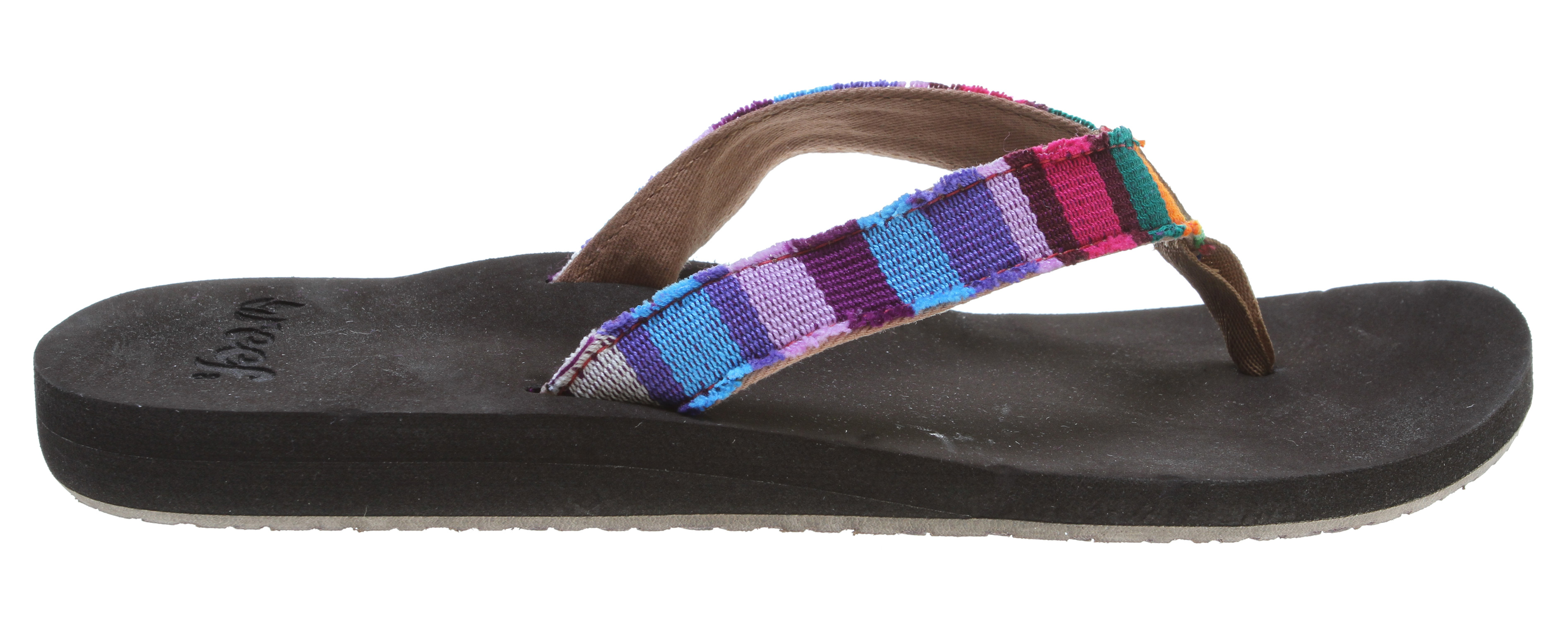Surf Key Features of the Reef Guatemalan Love Sandals: Soft cotton strap featuring hand-woven textiles from Guatemala Suede toepost logo; woven polyester toepost Eva footbed with anatomical arch support Durable rubber outsole - $20.95