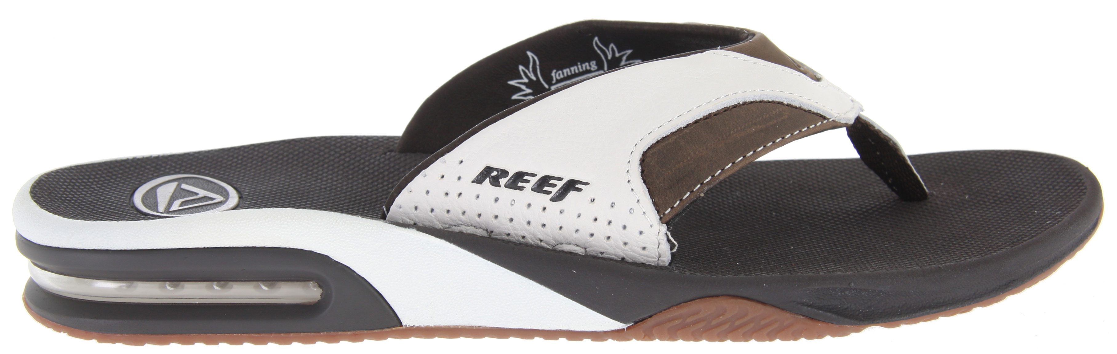 "Surf These Reef leather fanning sandals provide the freedom of a regular flip-flop with the added bonus of an expertly contoured foot bed for excellent arch support and unparalleled comfort. What's more, an airbag in the heel brings new meaning to the term walking on air. The rubber sole takes the worry out of having enough traction when on slippery surfaces, and the expertly crafted leather upper is the perfect finishing touch for every summer outdoor enthusiast.Key Features of the Reef Leather Fanning Sandals: High quality full grain leather upper Comfortable glove leather lining Contoured compression molded Eva Footbed with anatomical arch support Full 360degrees heel airbag enclosed in soft polyurethane Church key to open your ""soda"" bottle Reef icon herringbone rubber outsole - $51.95"