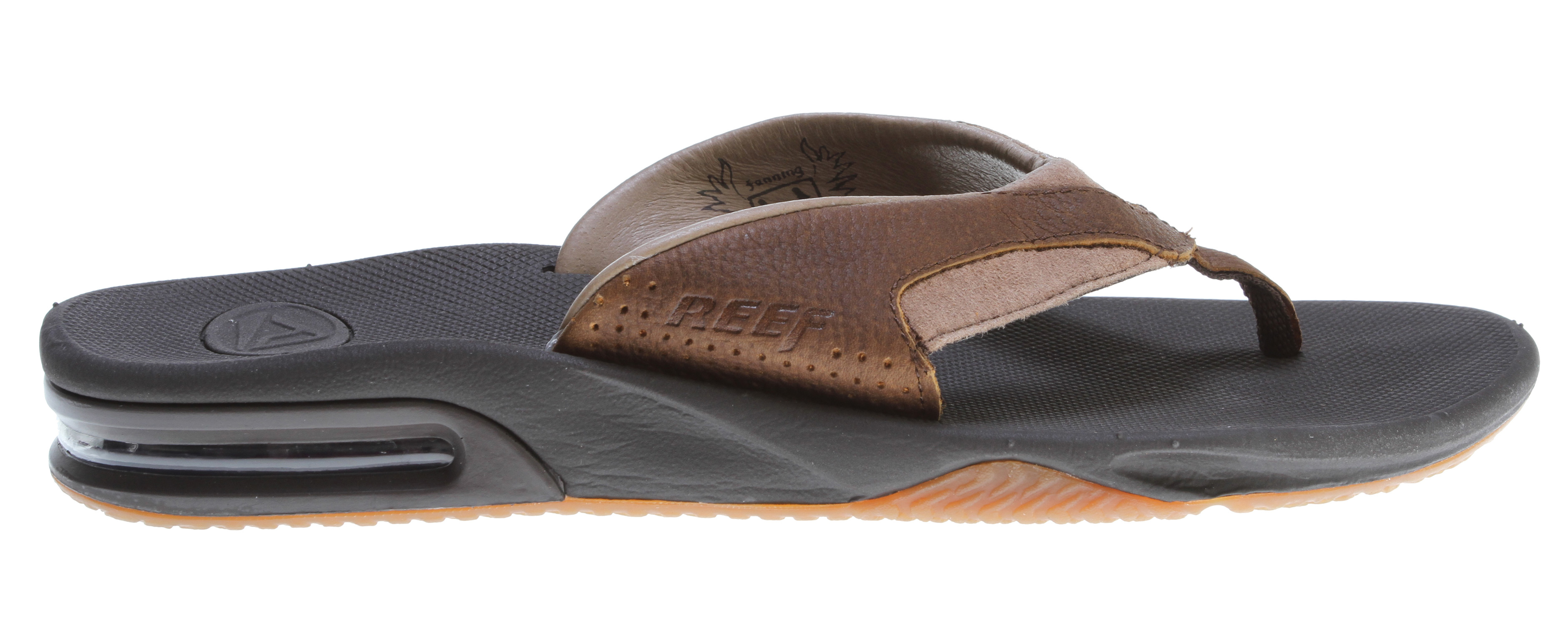 "Surf Key Features of the Reef Leather Fanning Sandals: High quality full grain leather upper Comfortable glove leather lining contoured compression molded eva footbed with anatomical arch support Full 360° heel airbag enclosed in soft polyurethane Church key to open your ""soda"" bottle Reef icon herringbone rubber outsole - $58.00"