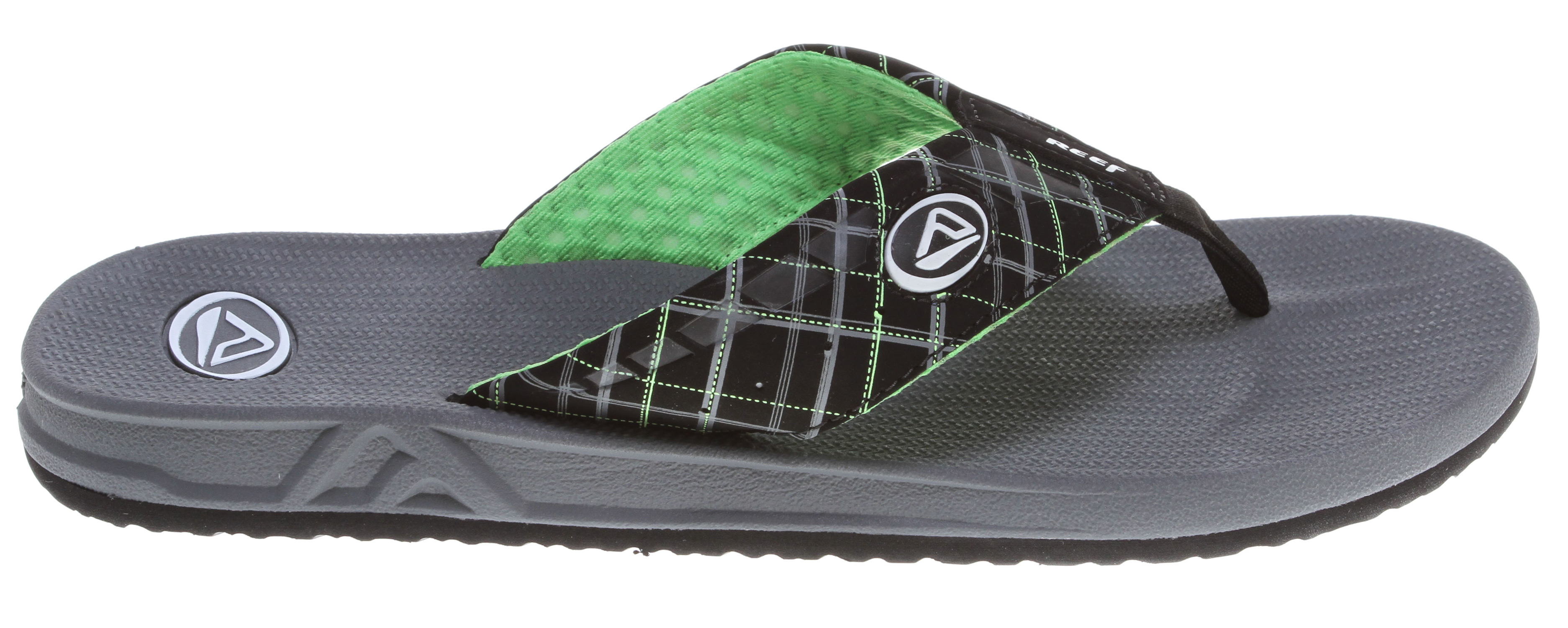 Surf Key Features of the Reef Phantoms Prints Sandals: Guy's Performance Sandal Soft, comfortable, water friendly synthetic nubuck upper with air mesh lining Printed upper design details Contoured compression molded EVA footbed with anatomical arch support Durable and grippy molded high density EVA outsole - $20.95