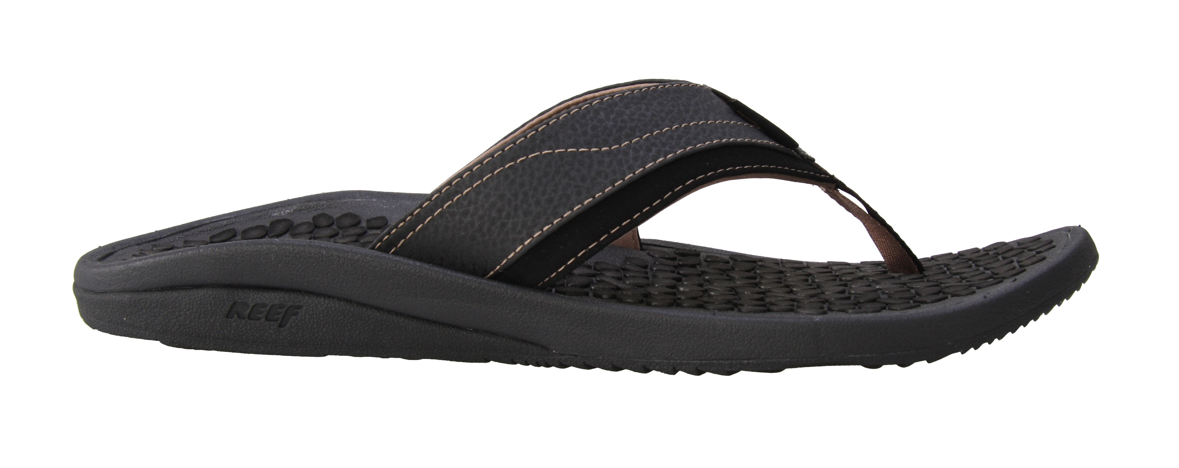 Surf The Reef Playa Negra sandals are ready for the summer. The 25% recycled rubber outsole performs on a variety of surfaces, while staying environmentally friendly. The heavy texture footbed means a grippy fit for maximum comfort, and the textile lined strap fits securely to your foot. The contoured EVA midsole lets you rock your reefs all day. Get Reef style, quality, and comfort with the Playa Negra sandals, and free your feet from sneaker oppression.Key Features of The Reef Playa Negra Sandals: Water Based / Water Friendly Synthetic Leather Upper with Asymmetrical Comfort Super Soft Textile Lining Heavy Texture Thermo Sliced Footbed Deep Contoured Compression Molded EVA Midsole Reef Olas Design Outsole Made of 25% Recycled Rubber - $33.95
