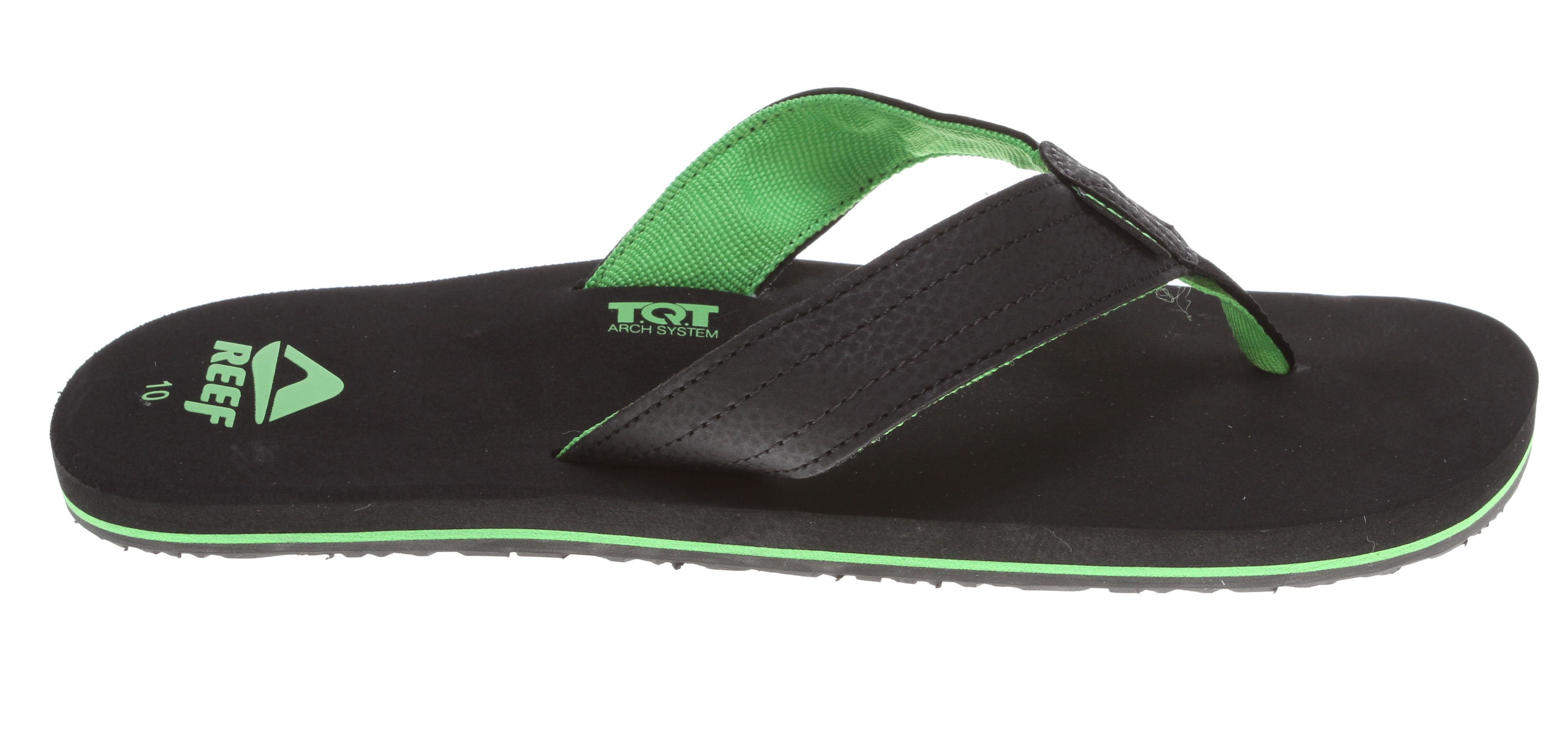 "Surf These Reef Quencha Tqt Sandals have a ""QT Pie"" construction that is adorable and durable. The Molded TQT technology features a ""Thirst Quenching Technology"" arch system that makes these sandals ideal for beach sports and relaxation. With a Grippy Molded Reef rubber outsole and Soft reef polyester woven lining, these aquatic-friendly sandals give you great traction and support for your feet.Key Features of the Reef Quencha Tqt Sandals: Soft, comfortable, water friendly synthetic nubuck upper Soft reef polyester woven lining Super soft EVA footbed with soft peach skin finish and printed logo detail contoured EVA footbed with anatomical arch support Molded TQT ""Thirst Quenching Technology"" arch system Grippy molded Reef rubber outsole - $20.95"