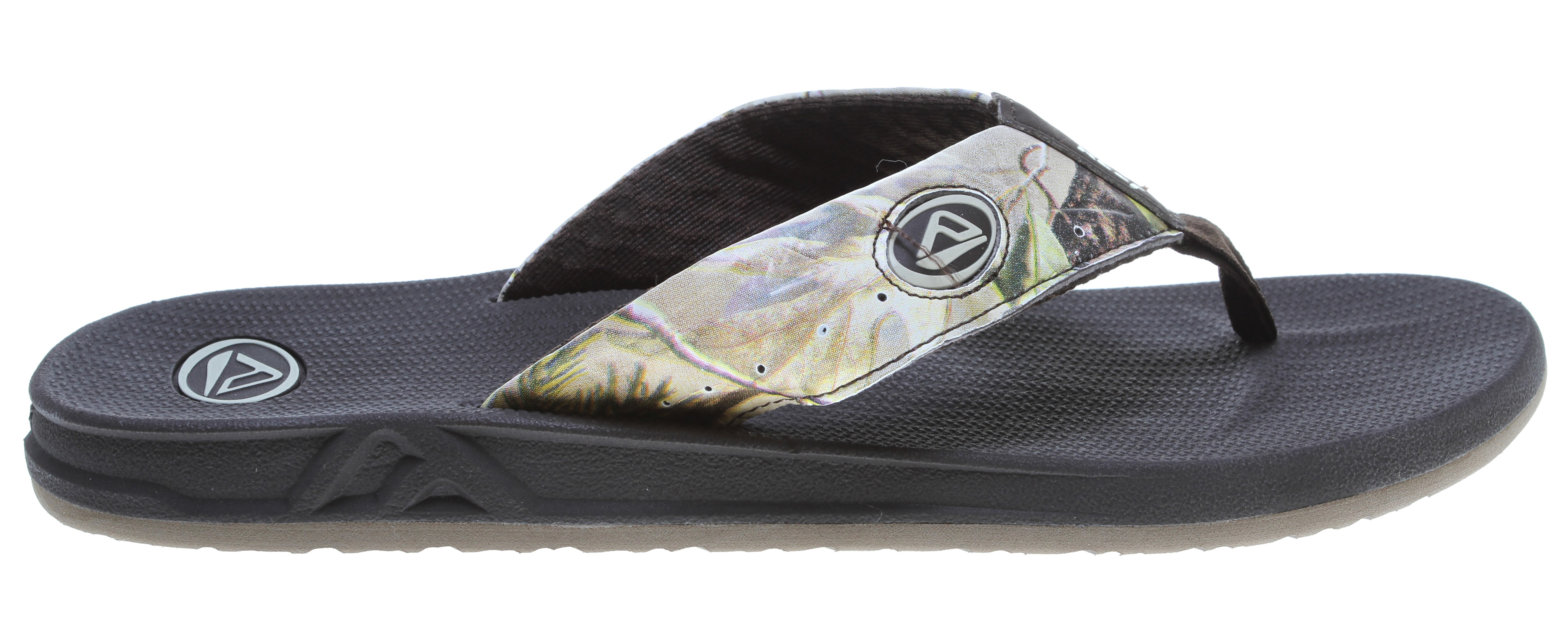 "Surf Key Features of the Reef Sandals Realtree: Original genuine realtree camouflage print Comfortable, water friendly synthetic nubuck upper Molded tpu side trap design detail with logo Contoured compression molded eva footbed with anatomical arch support Full 360 degree heel airbag enclosed in soft polyurethane Church key to open your ""soda"" bottle Select colorways have translucent outsole design features Reef icon herringbone rubber outsole - $38.95"