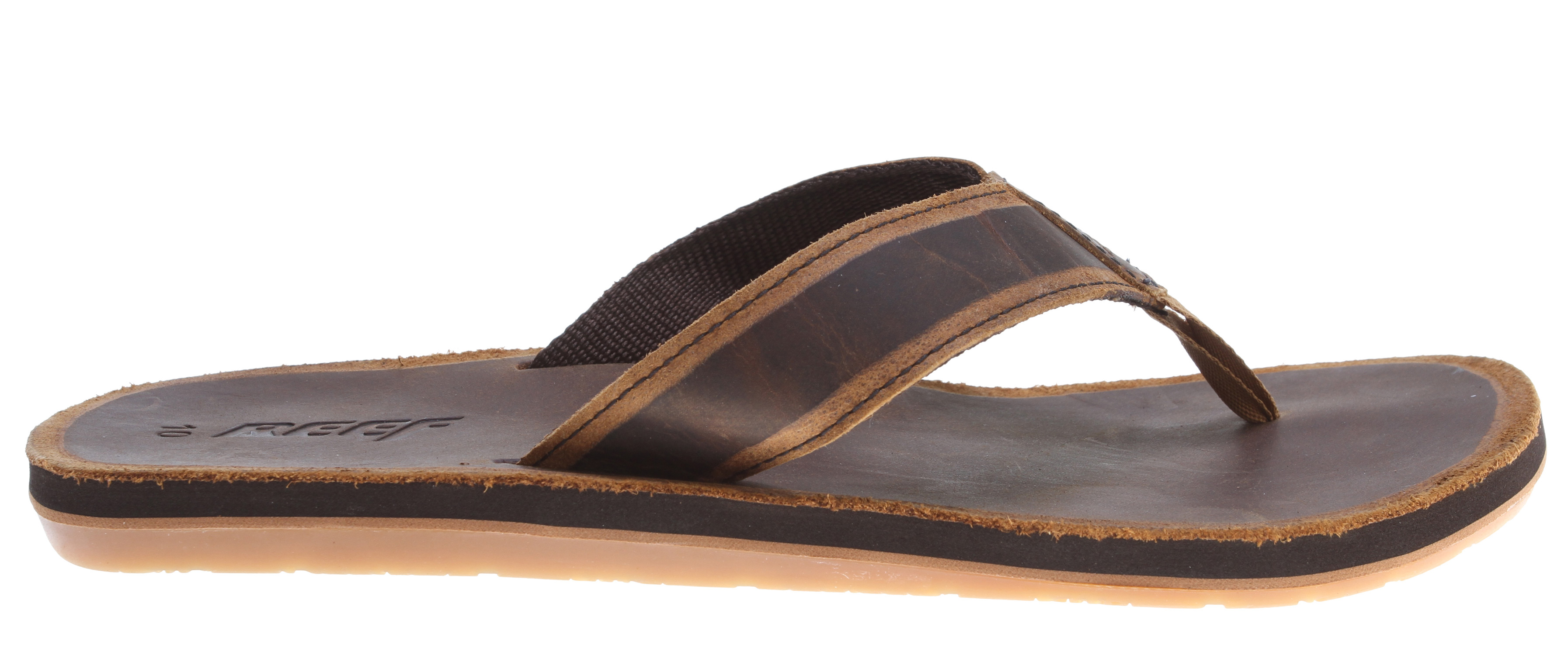 Surf Key Features of the Reef Skyver Sandals: rich full grain leather strap with contrast edge skyving design detail Rich full grain leather footbed reef-flex triple density eva construction with anatomical arch support highly abrasion resistant, molded reef rubber non-marking outsole - $31.95
