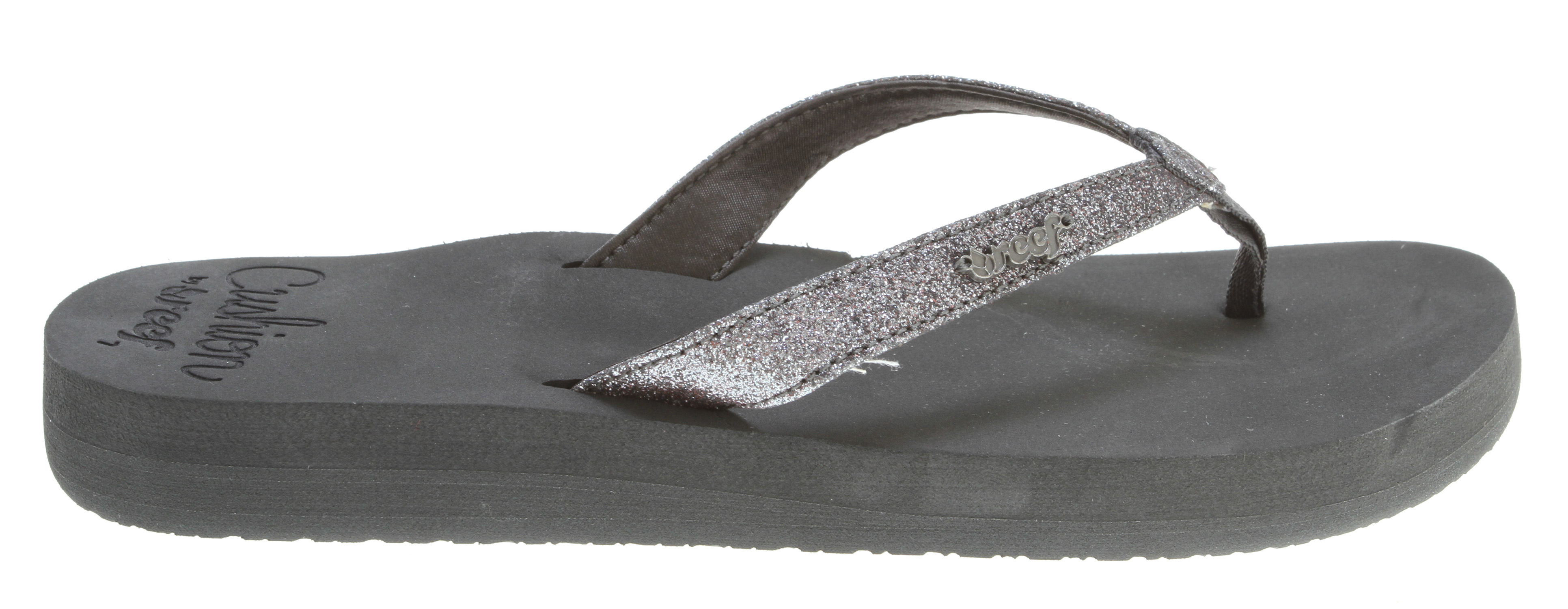 Surf Key Features of the Reef Star Cushion Sandals: Sparkly strap with soft satin lining Featuring super soft reef cushion eva with anatomical arch support Rubber sponge outsole for flexibility - $23.95