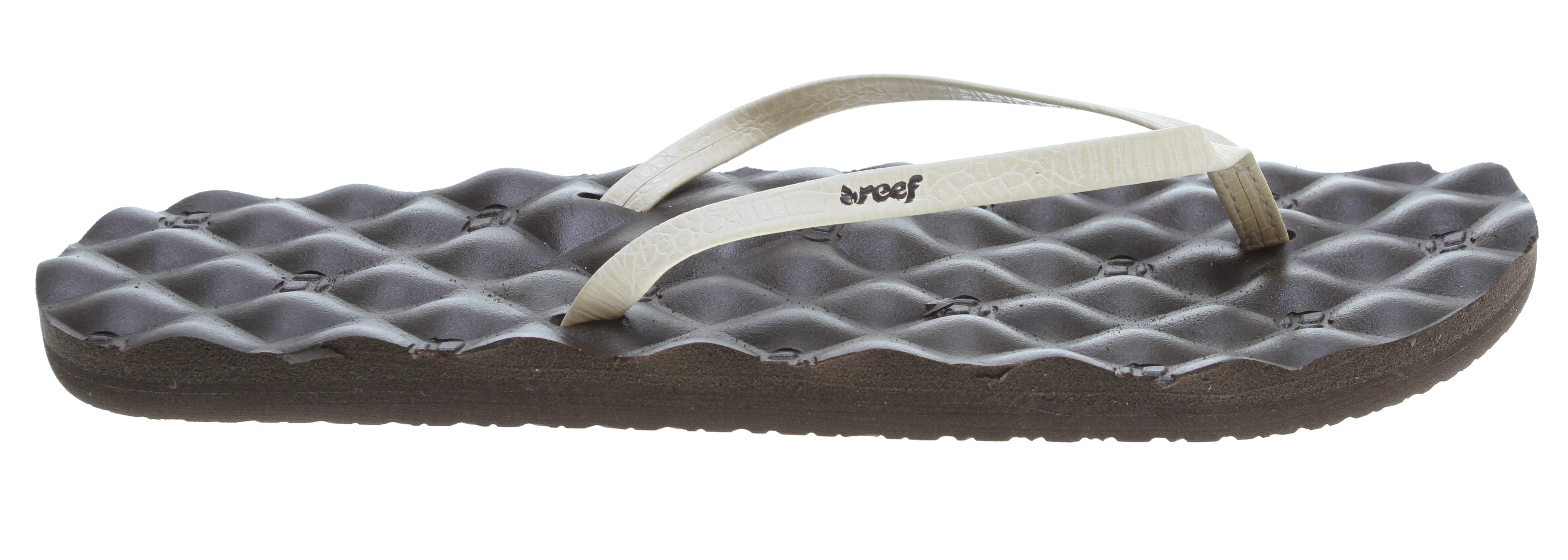 Surf Key Features of the Reef Uptown Dreams Sandals: So comfortable it's like you never left your bed Skinny, synthetic strap invarious exotic patterns Mattress-inspired quilted PU foam footbed with anatomical arch support Rubber sponge outsole for flexibility PVC free - $21.95