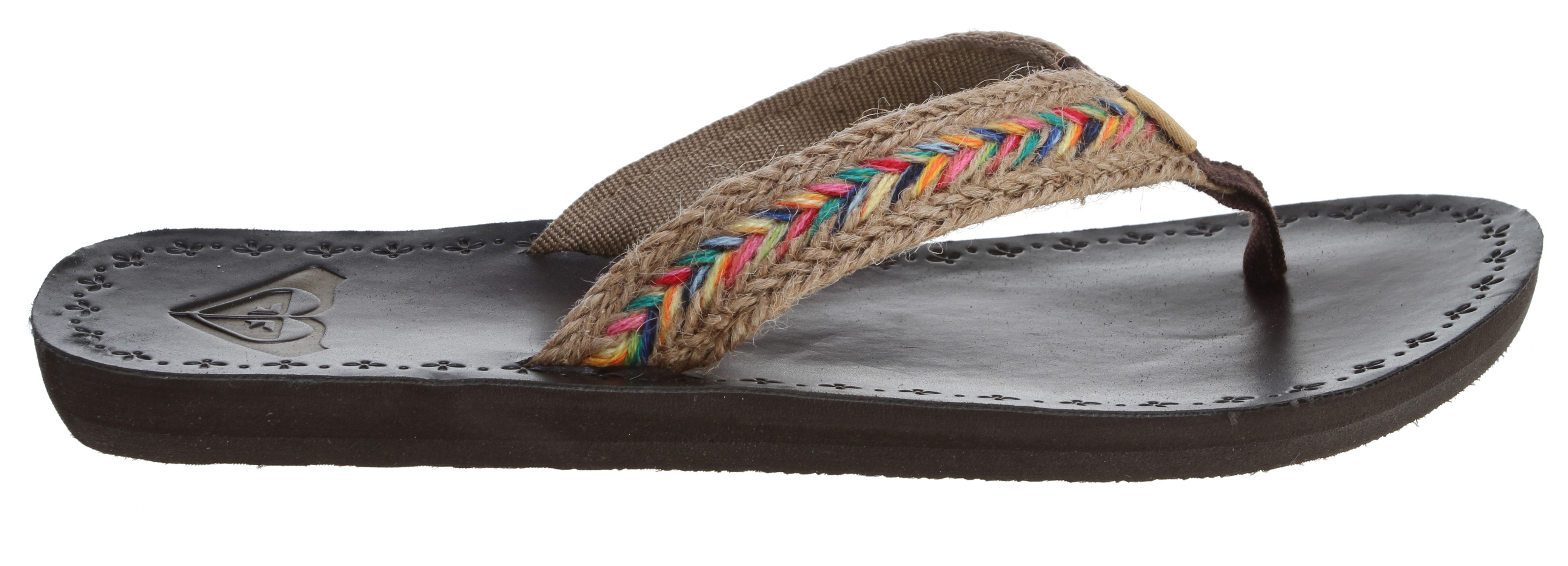 Surf Key Features of the Roxy Fiji Sandals: Braided pu and jute upper Soft poly web lining Woven flag label Leather insole embossed ROXY heart logo Rubber outsole - $19.95