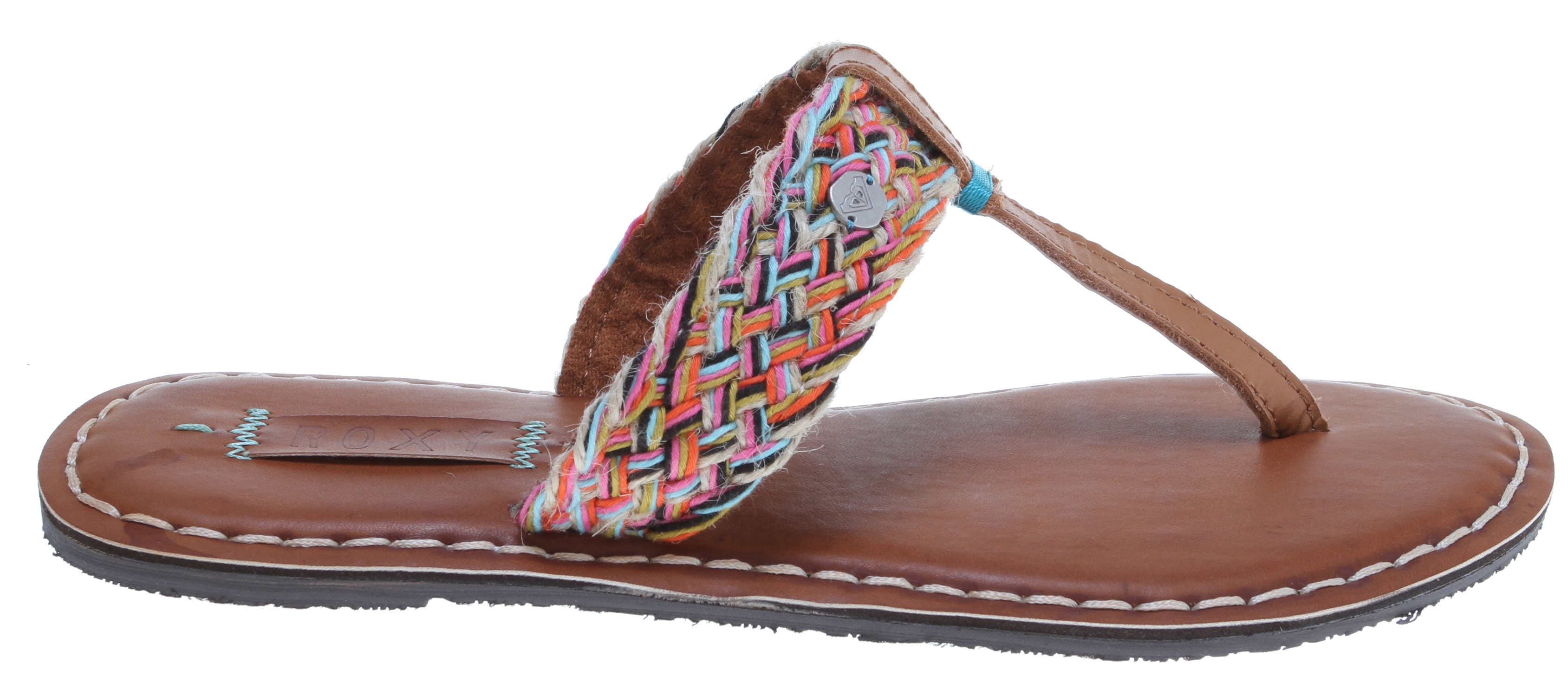 Surf Key Features of the Roxy Mykonos Sandals: Rope and leather braided upper Added stitch detail on toe post Burnished insole with more stitch detail Padded flexible construction Rubber outsole - $33.95